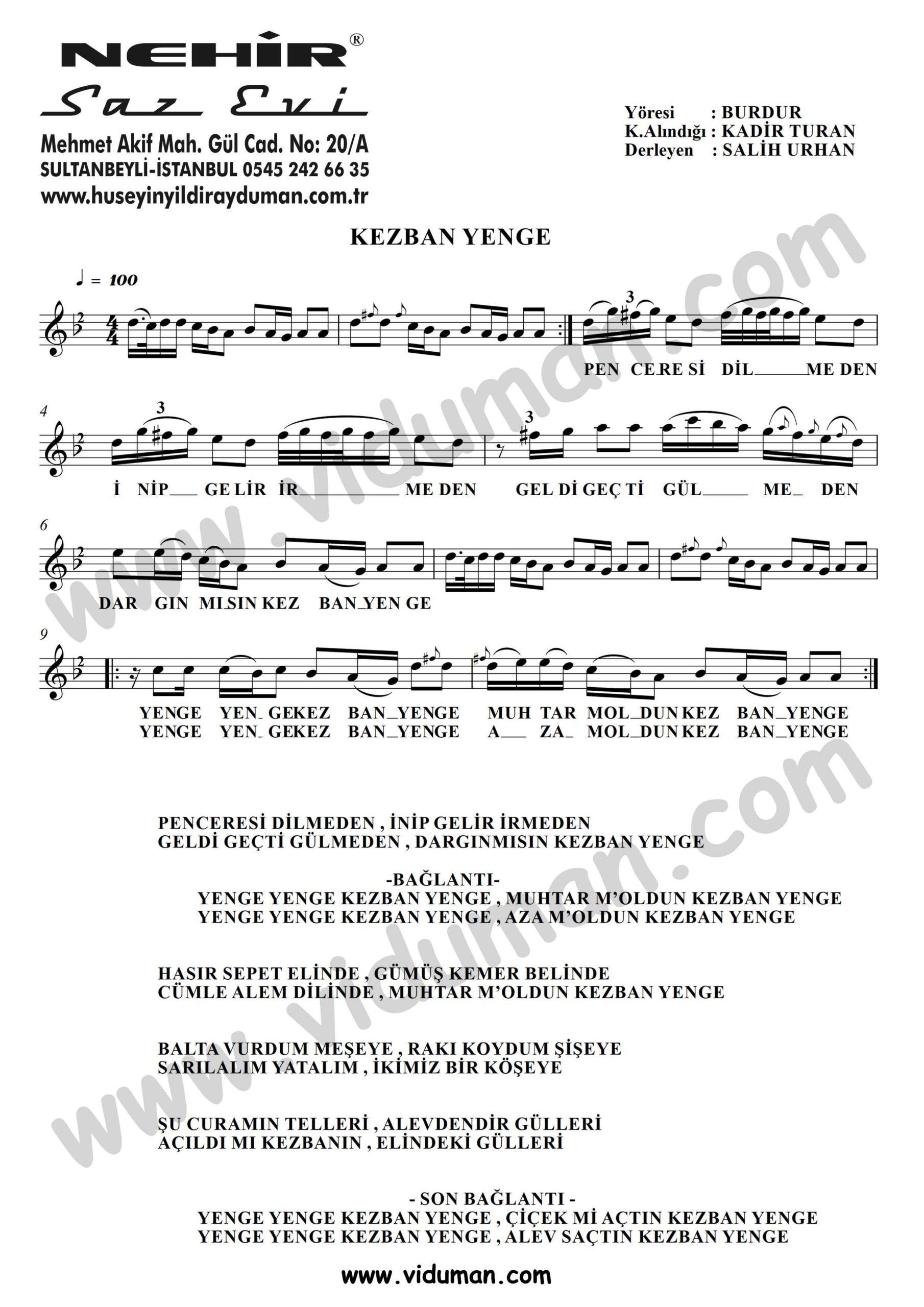 Kezban Yenge-Baglama-Saz-Turku Notalari