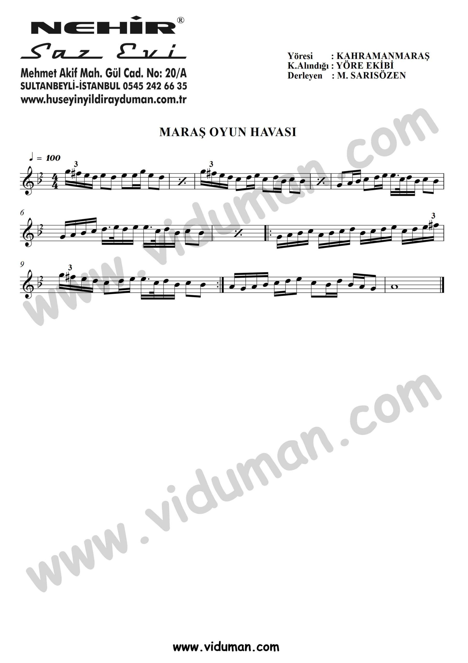 Maras Oyun Havasi-Baglama-Saz-Turku Notalari