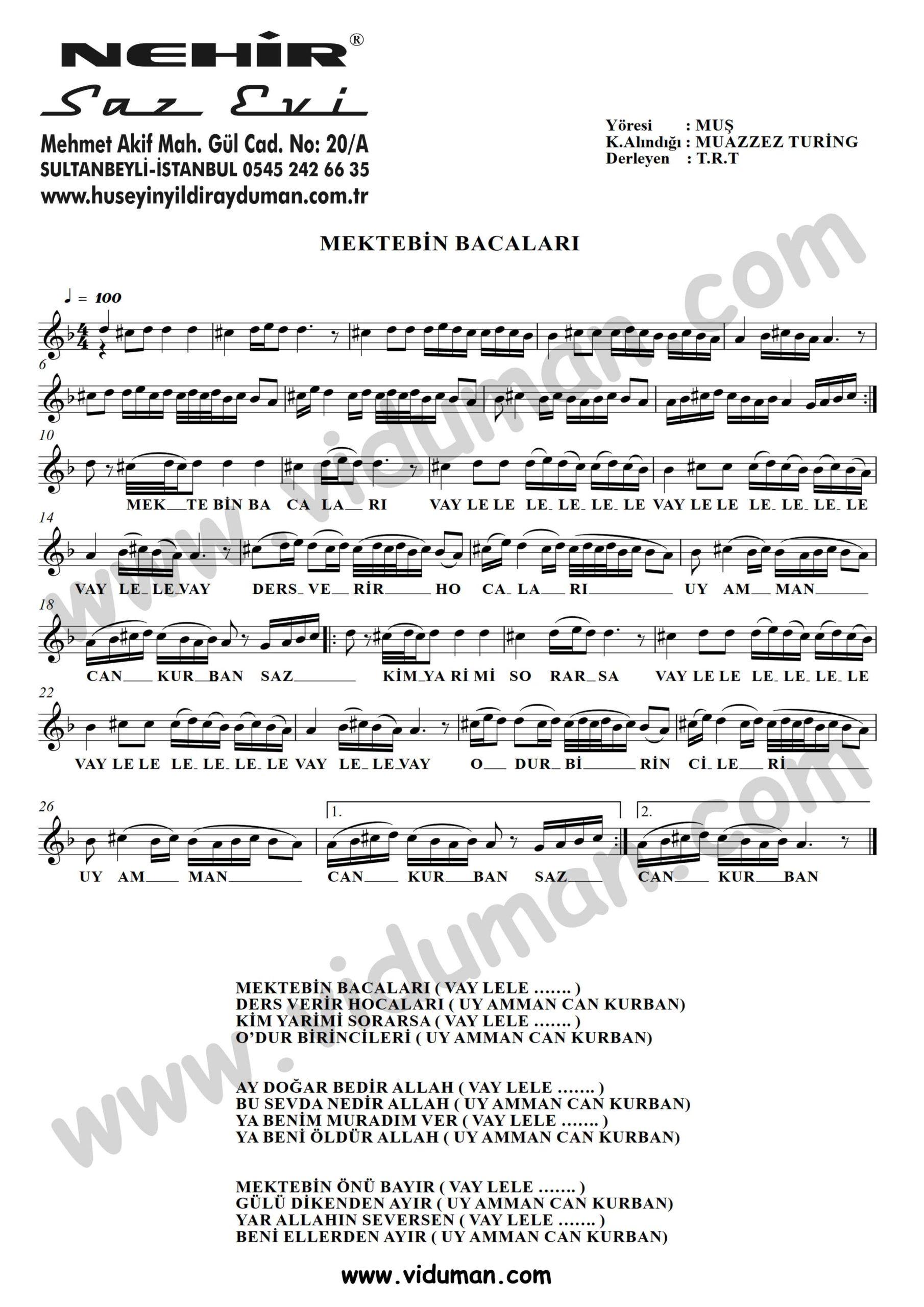 Mektebin Bacalari-Baglama-Saz-Turku Notalari