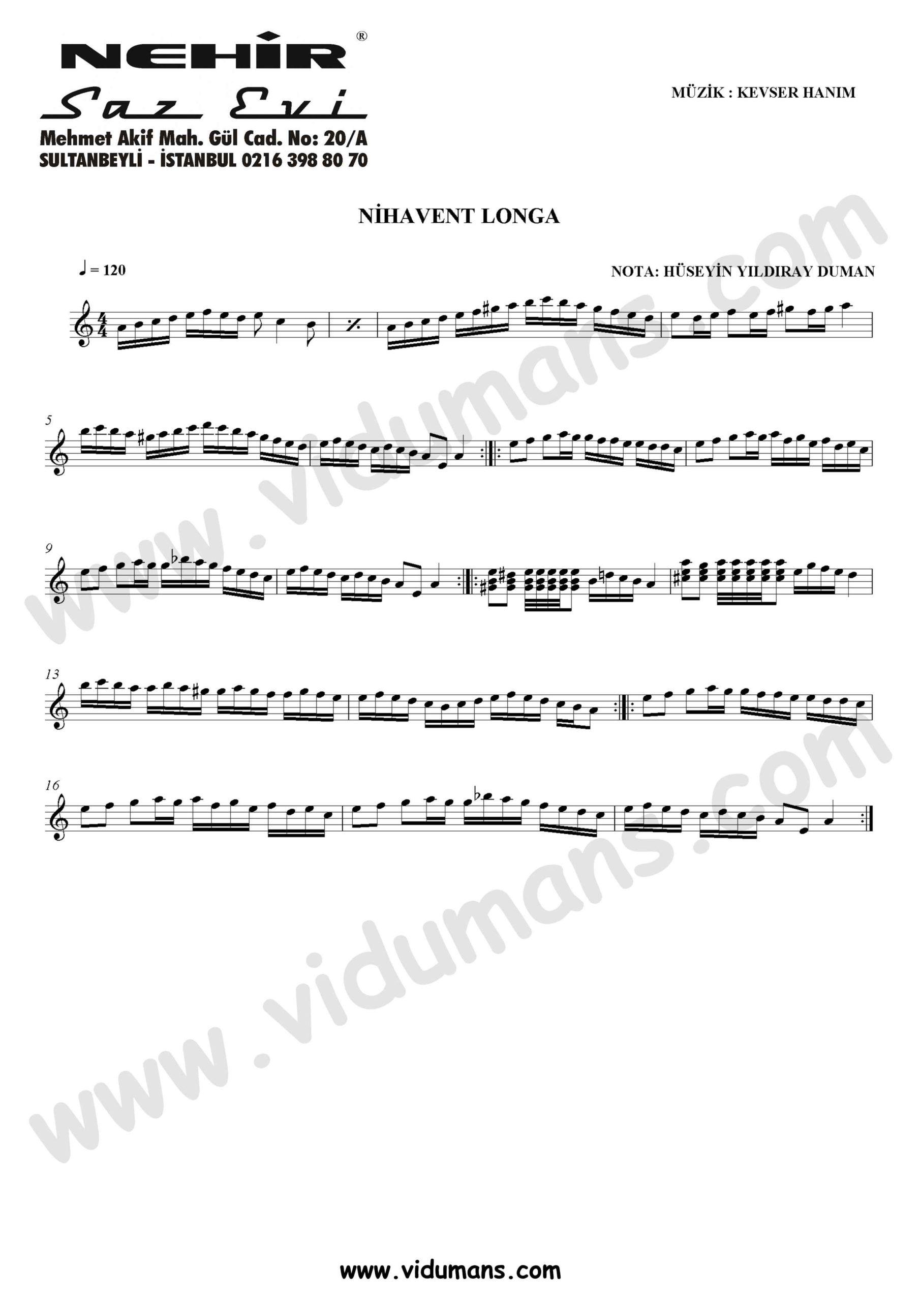 Nihavent Longa-Baglama-Saz-Turku-Notalari