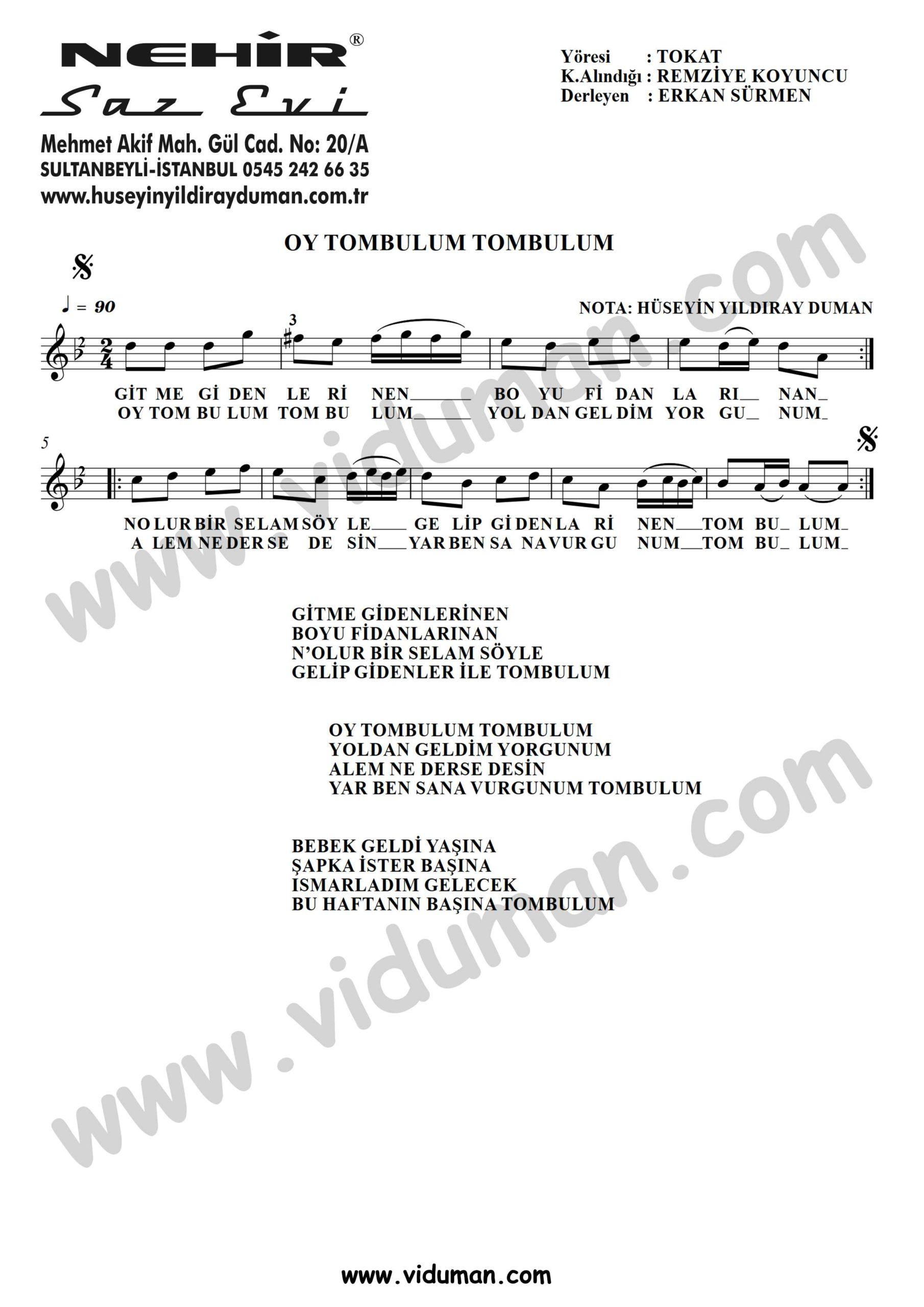 Oy Tombulum Tombulum-Baglama-Saz-Turku-Notalari