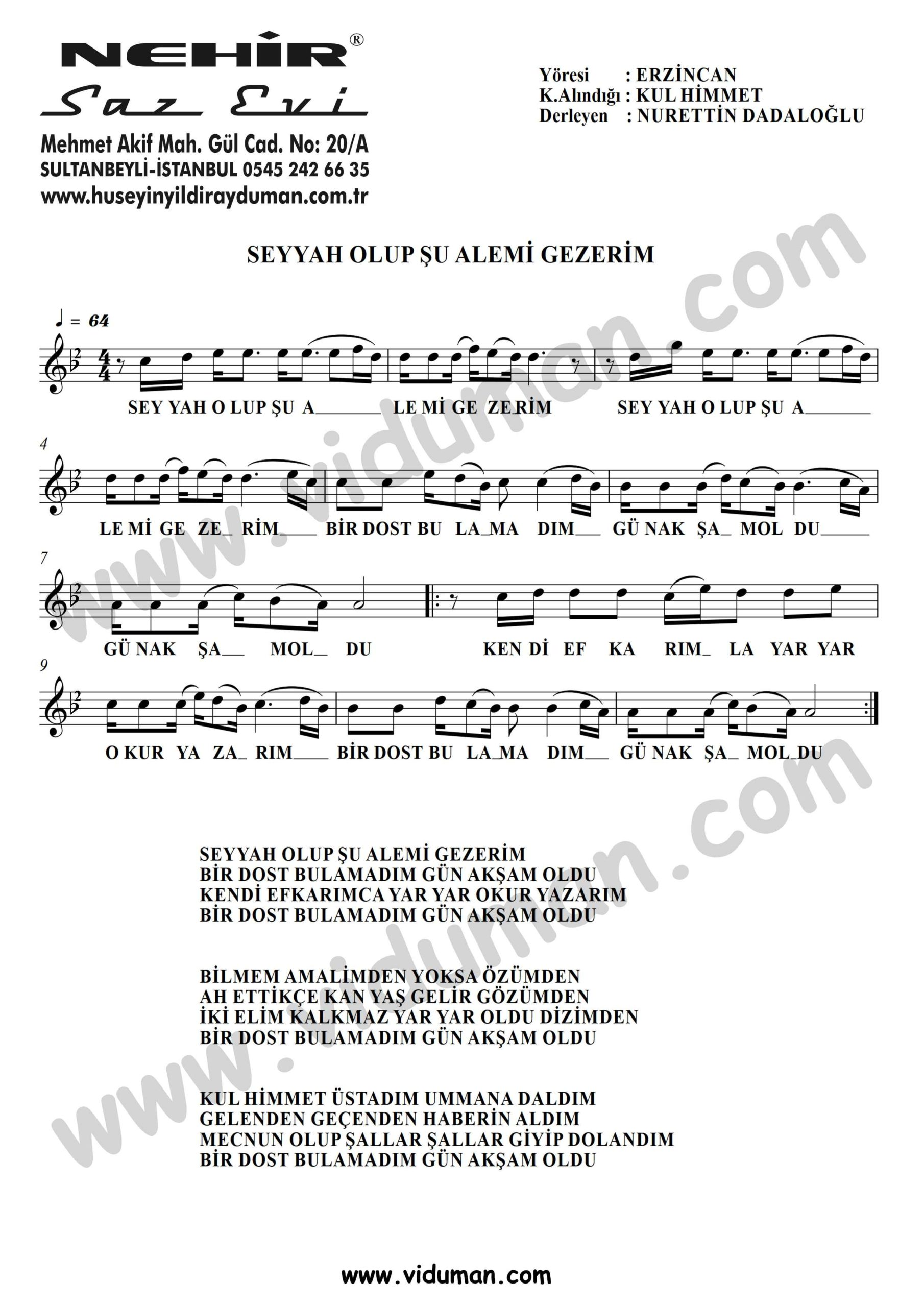 Seyyah Olup Su Alemi Gezerim-Baglama-Saz-Turku-Notalari