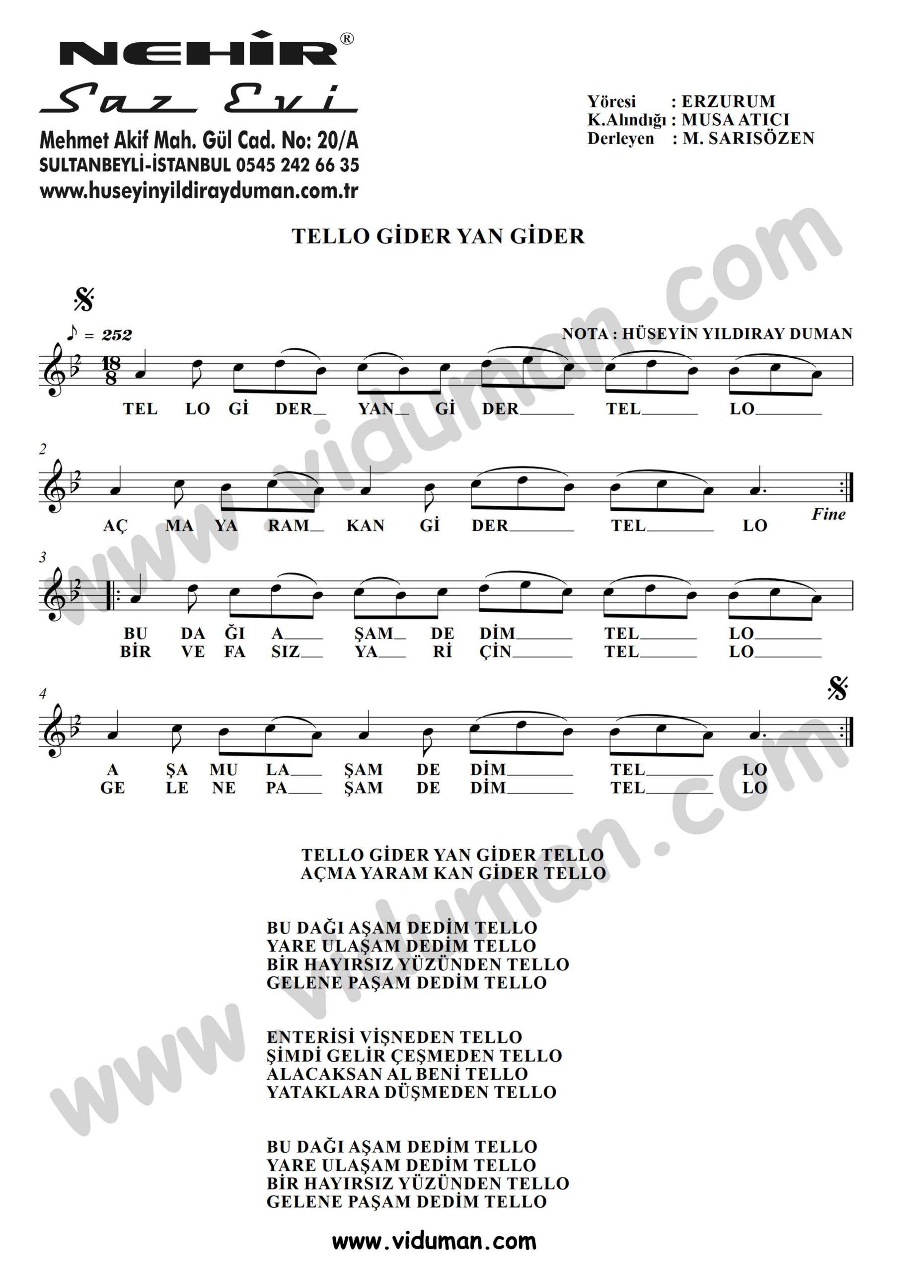 Tello Gider Yan Gider-Baglama-Saz-Turku-Notalari