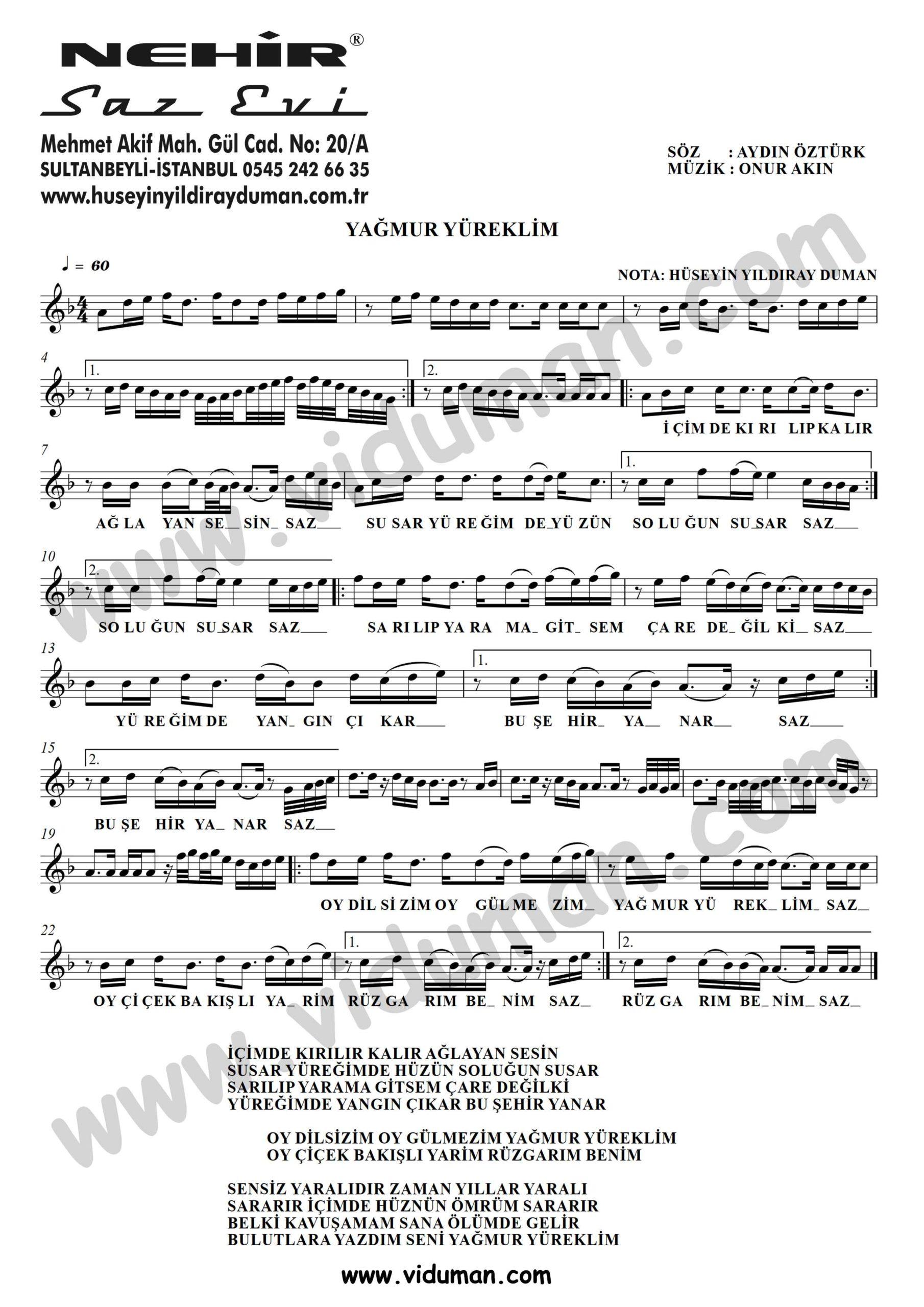 Yagmur Yureklim-Baglama-Saz-Turku-Notalari