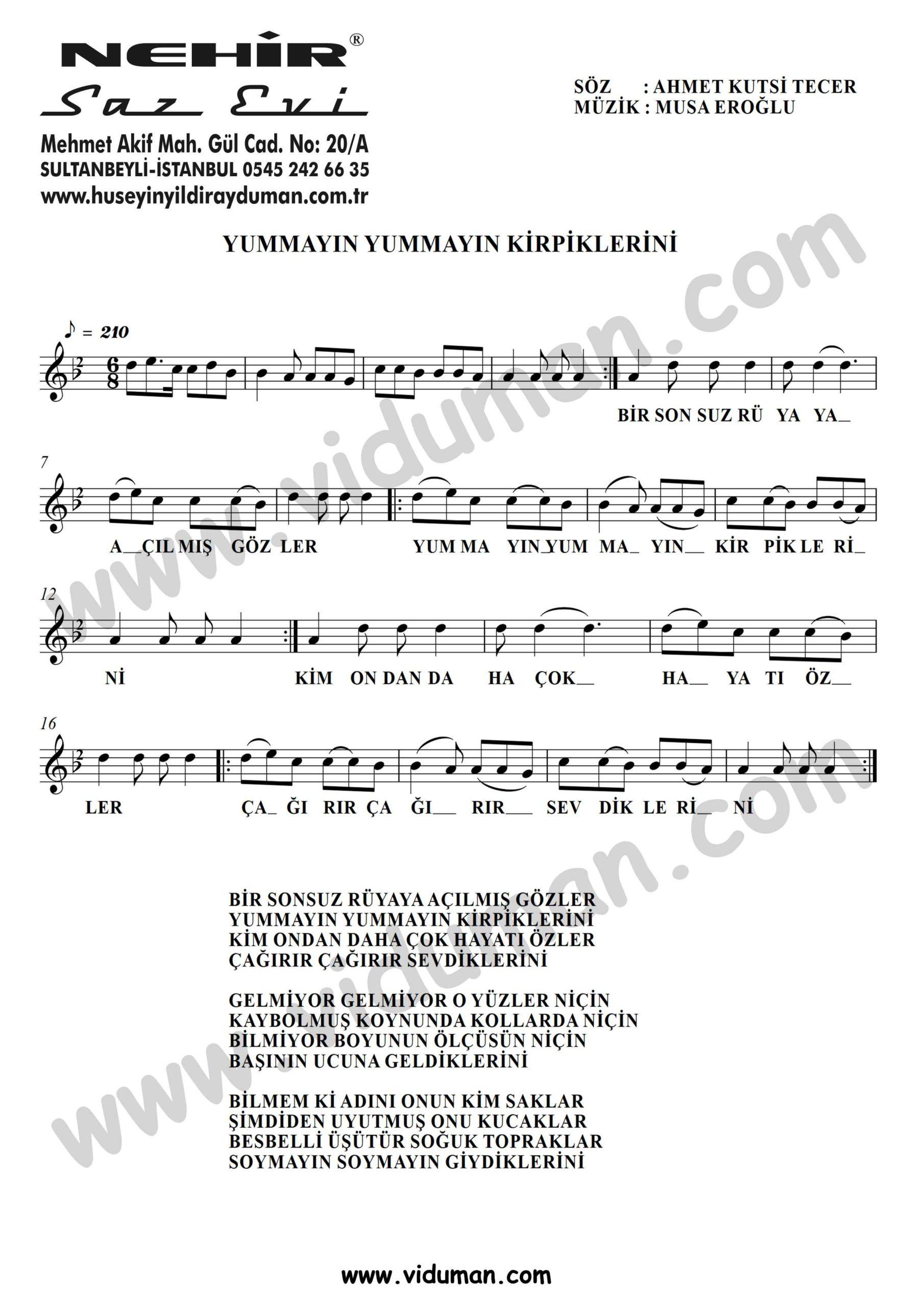 Yummayin Yummayin Kirpiklerini-Baglama-Saz-Turku-Notalari