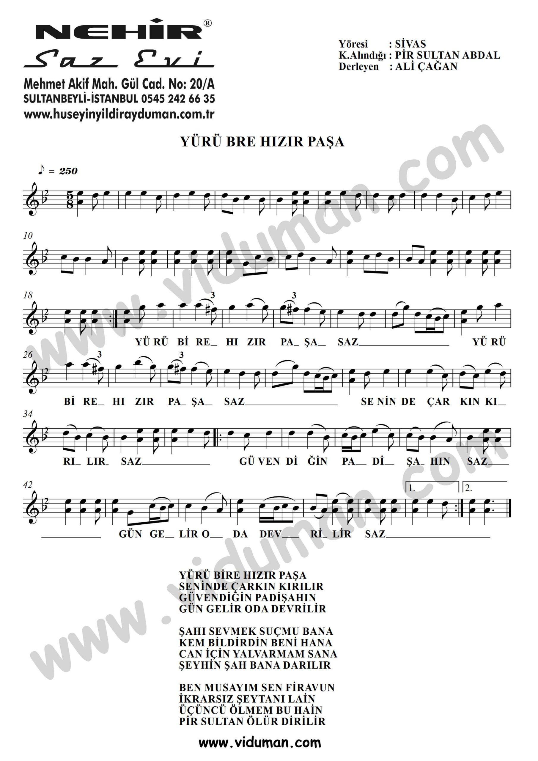 Yuru Bre Hizir Pasa-Baglama-Saz-Turku-Notalari
