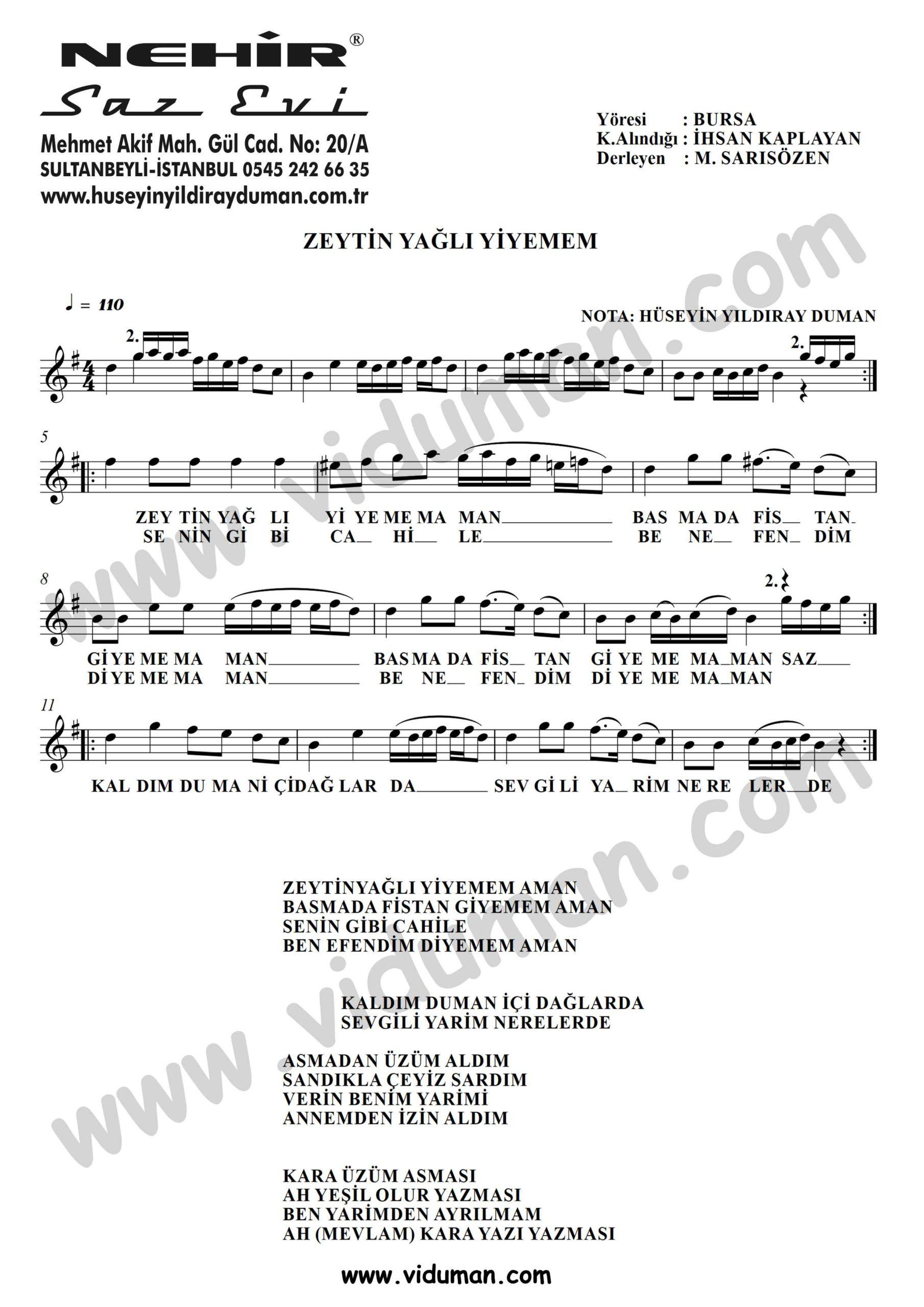 Zeytin Yagli Yiyemem-Baglama-Saz-Turku-Notalari