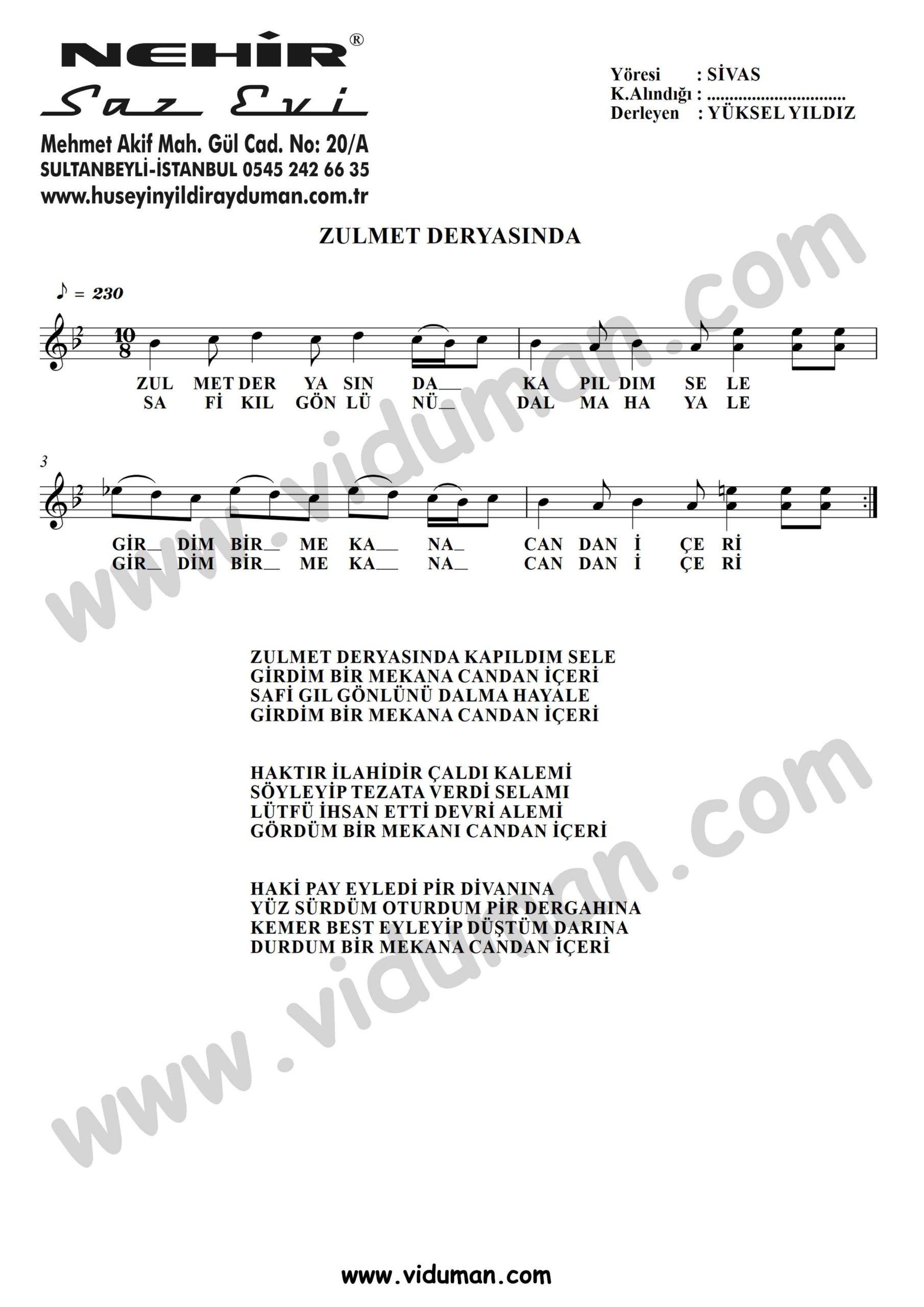 Zulmet Deryasinda-Baglama-Saz-Turku-Notalari