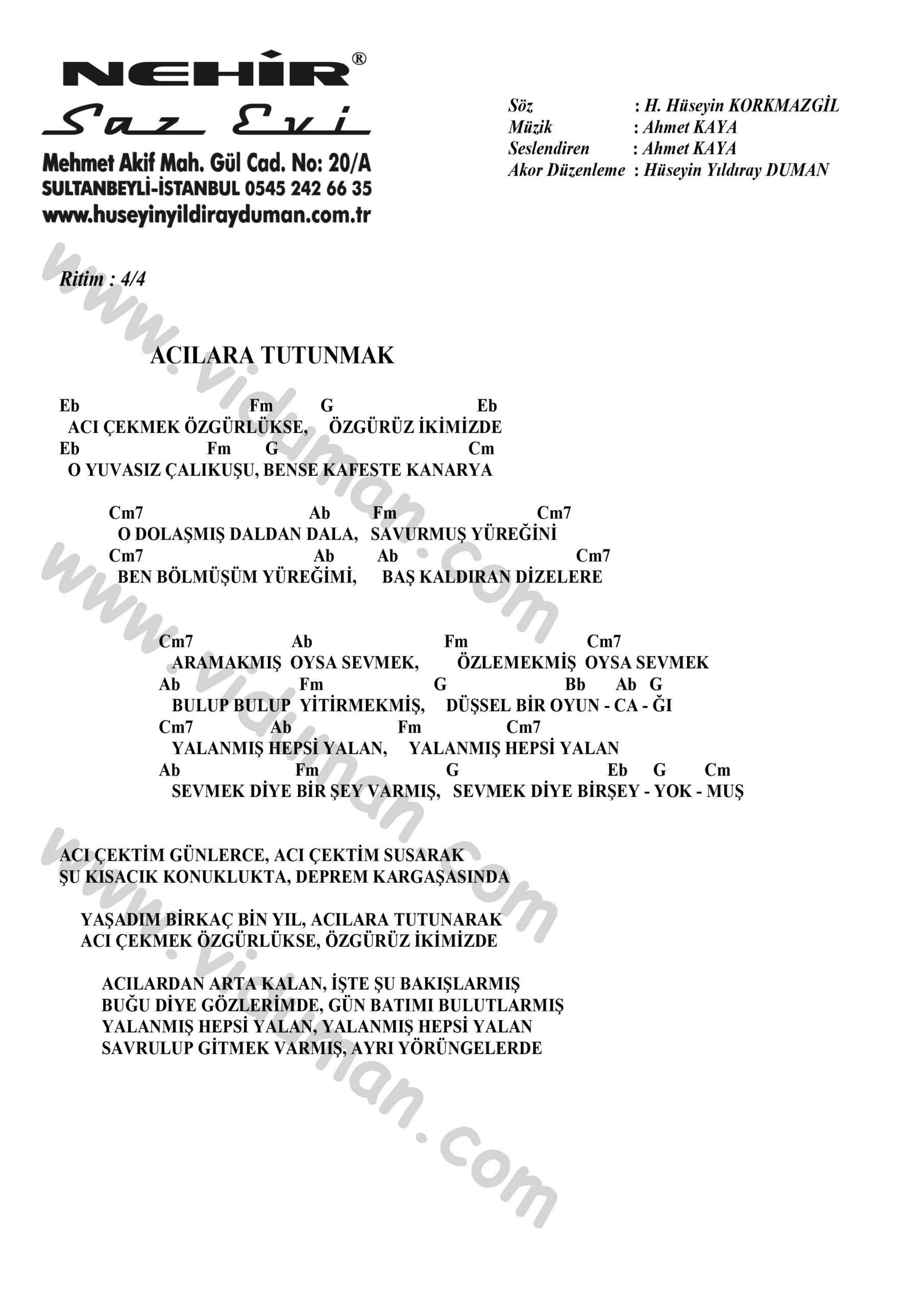Acilara Tutunmak-Ahmet Kaya-Ritim Gitar Akorlari