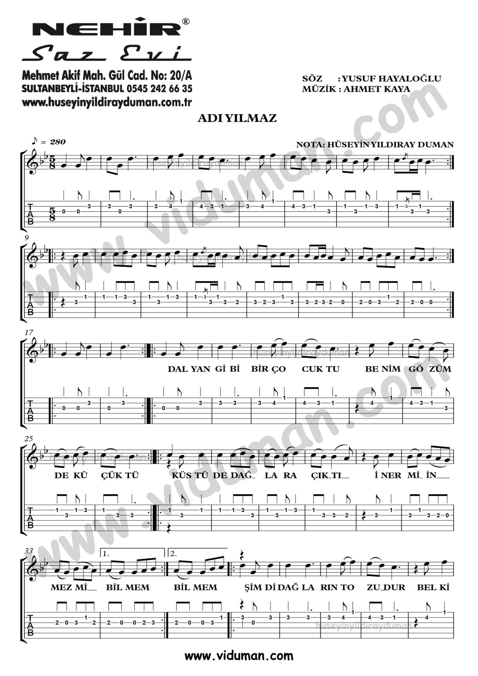 Adi Yilmaz_1-Ahmet Kaya-Gitar Tab-Solo Notalari