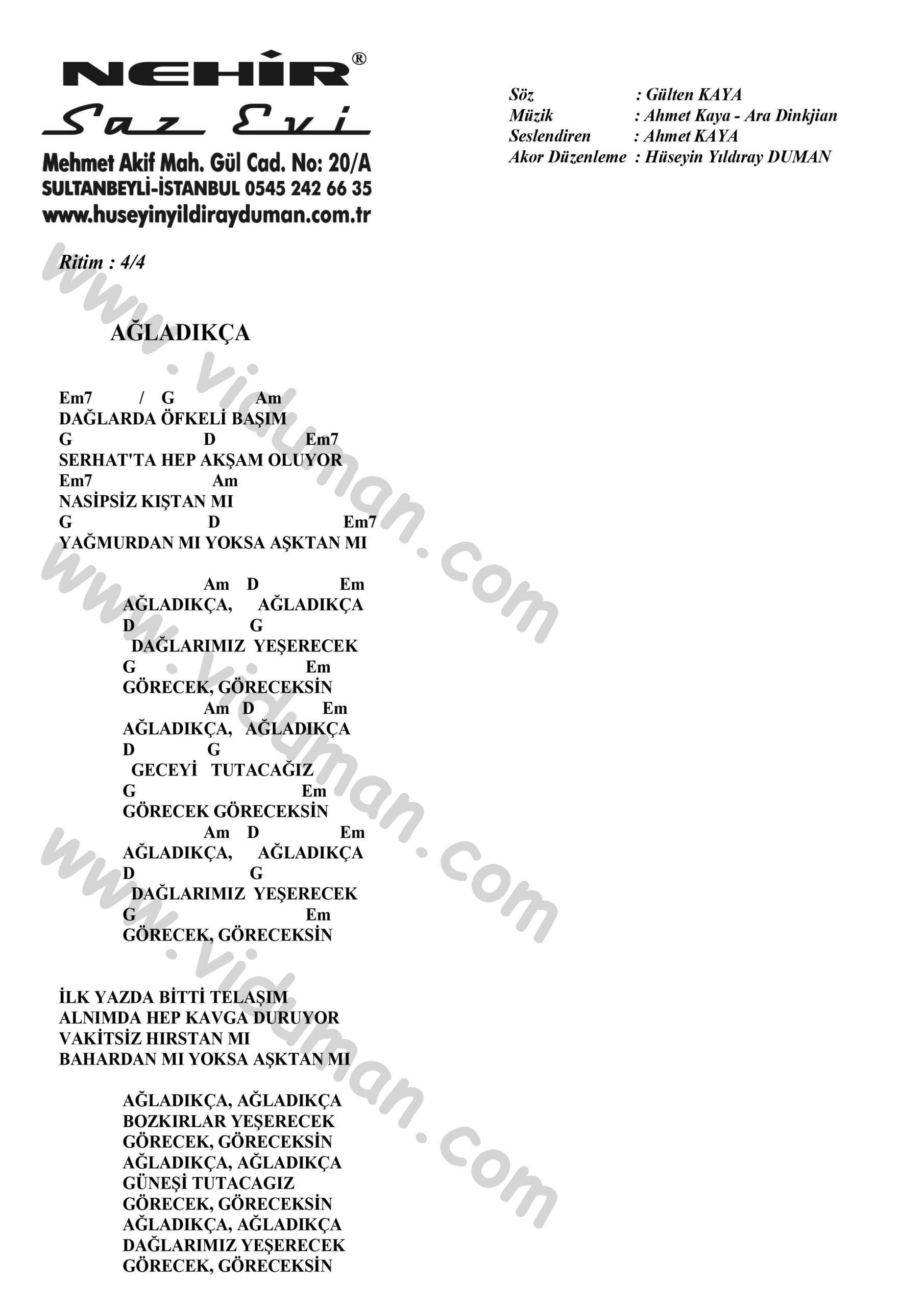 Agladikca-Ahmet Kaya-Ritim Gitar Akorlari