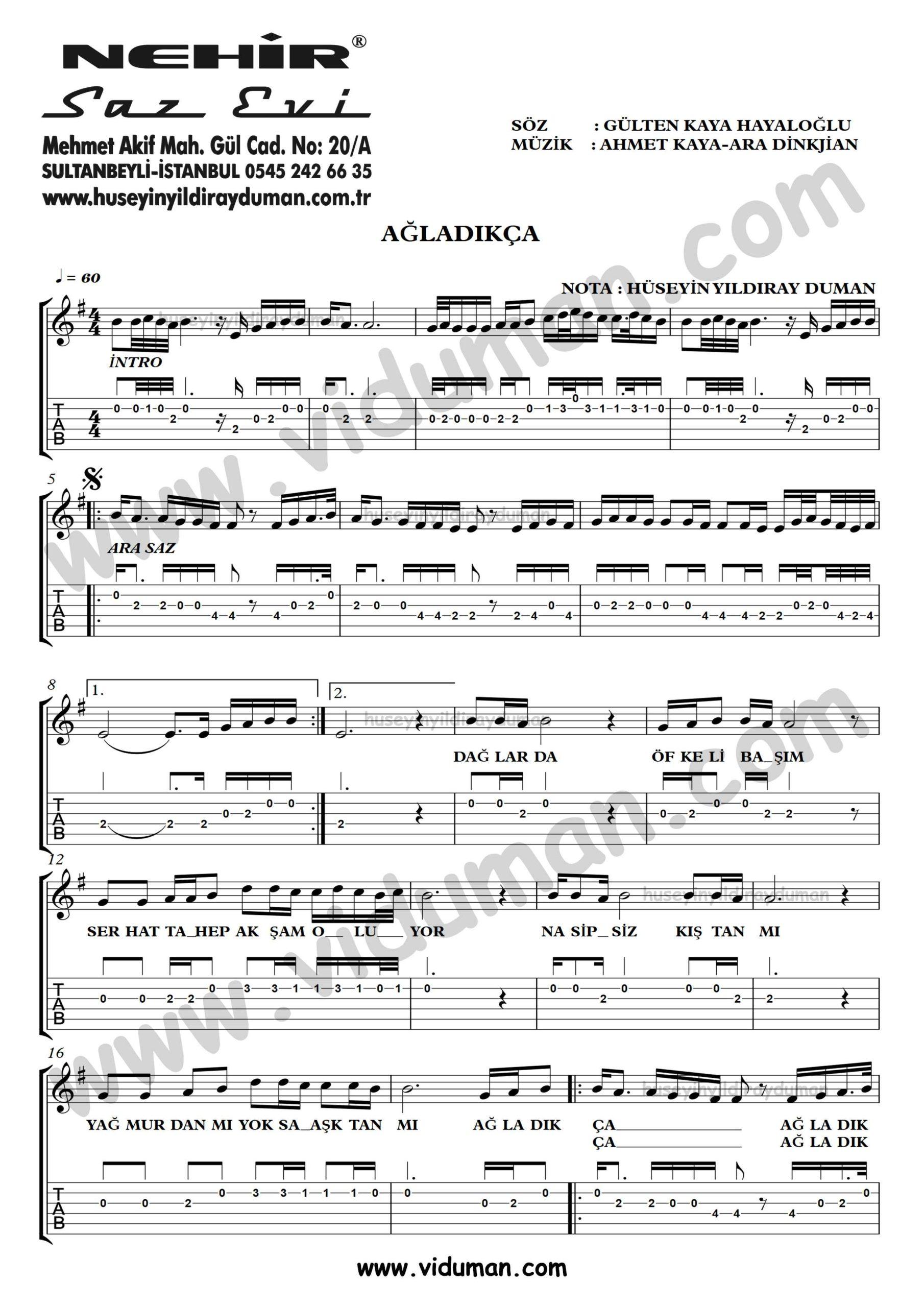 Agladikca_1-Ahmet Kaya-Gitar Tab-Solo Notalari