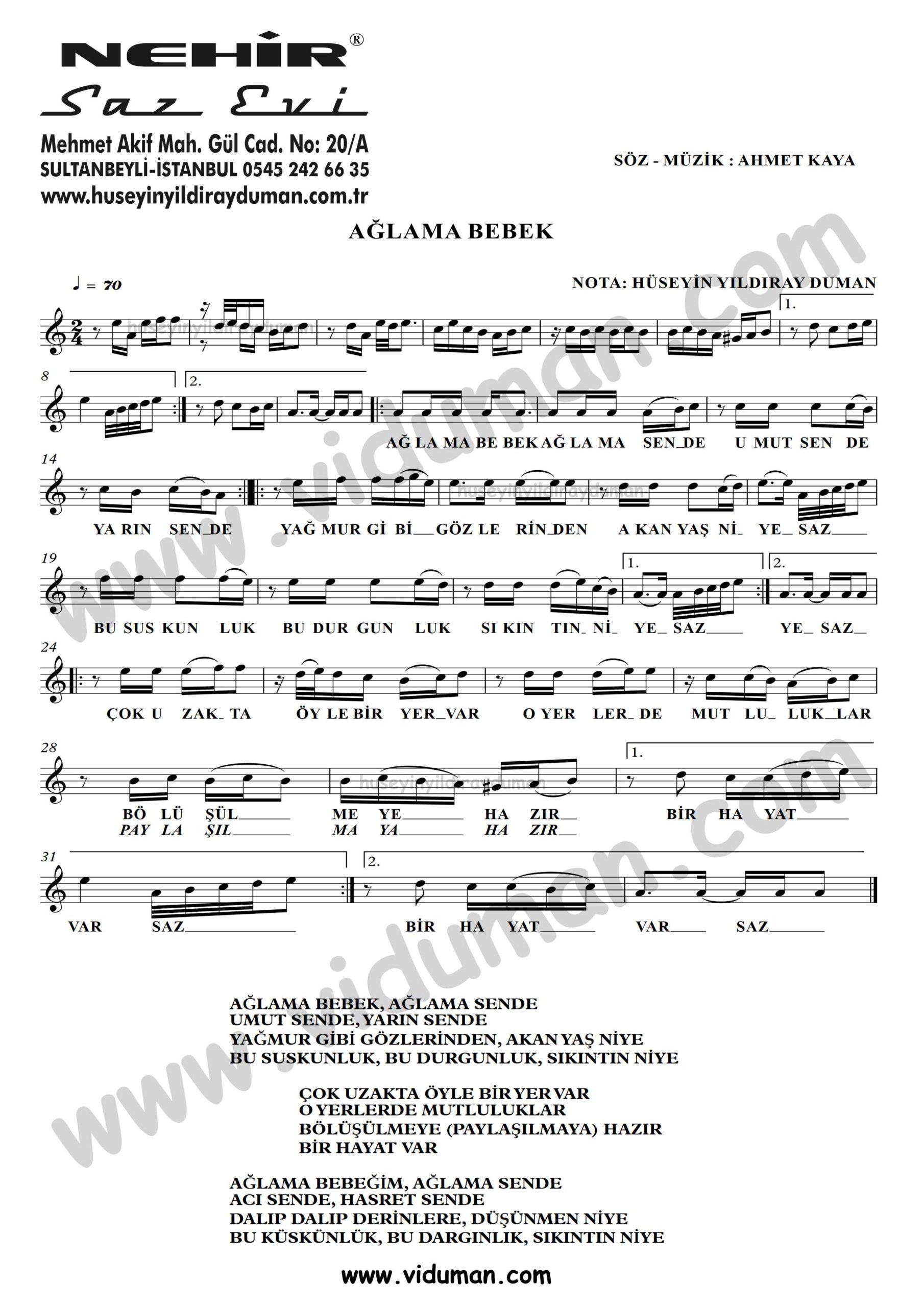 Aglama Bebek-Ahmet Kaya-Baglama-Saz-Turku-Notalari
