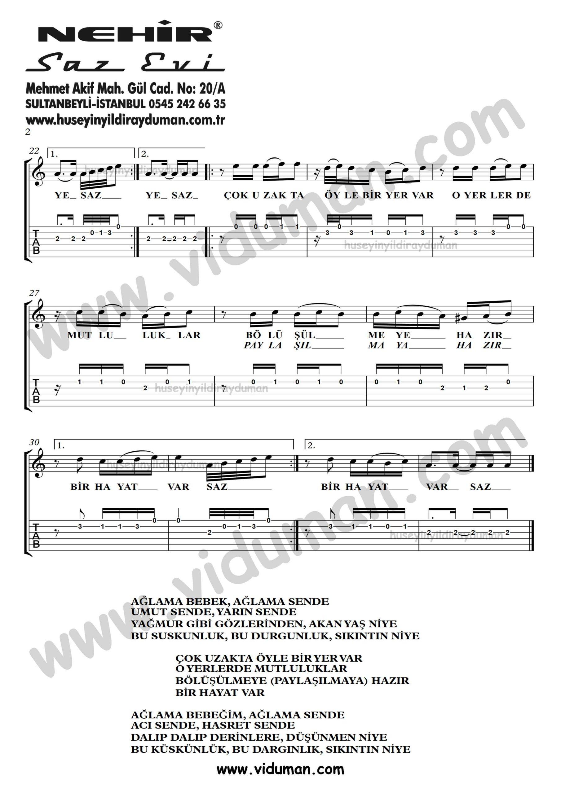 Aglama Bebek_2-Ahmet Kaya-Gitar Tab-Solo Notalari