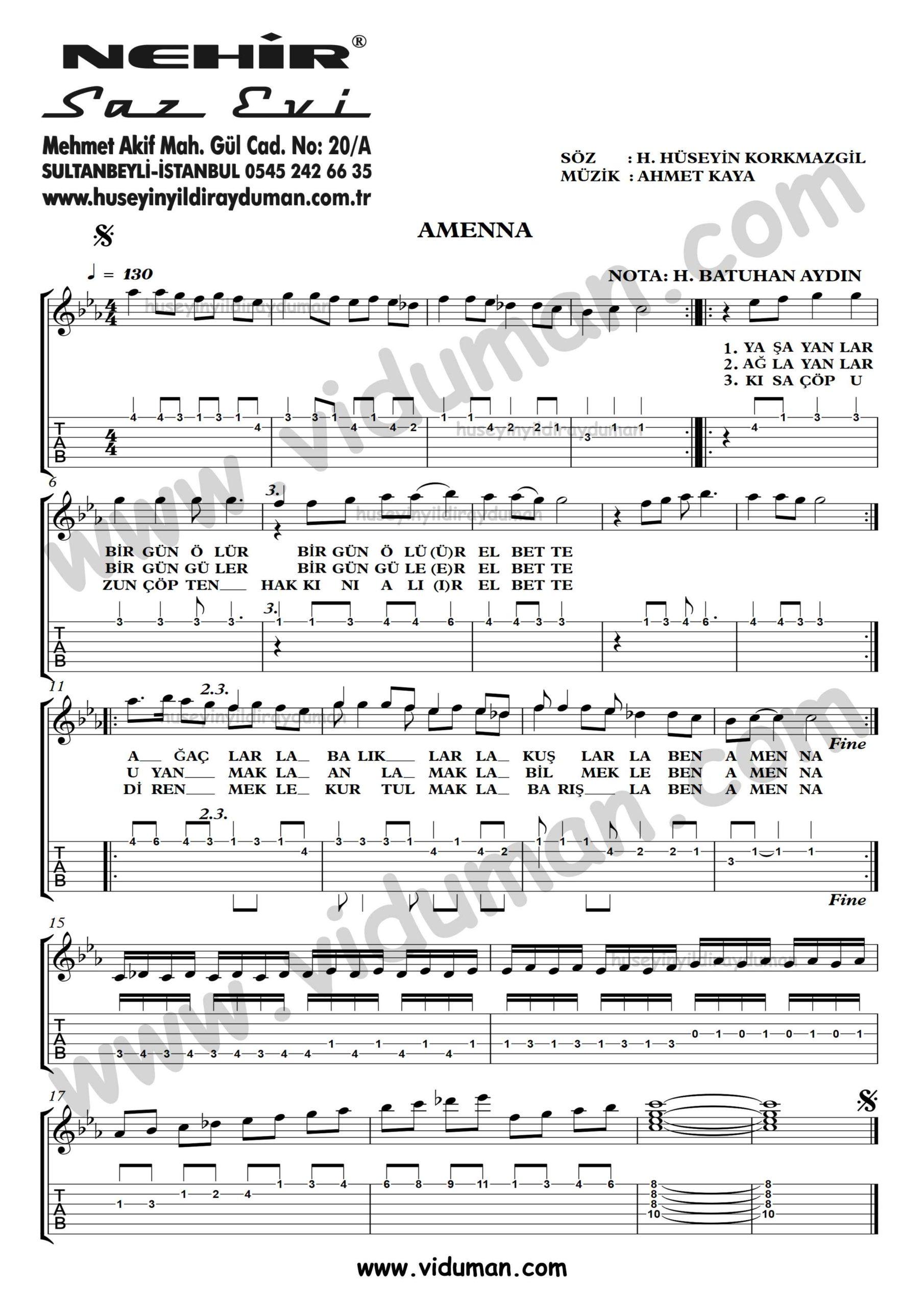 Amenna-Ahmet Kaya-Gitar Tab-Solo Notalari