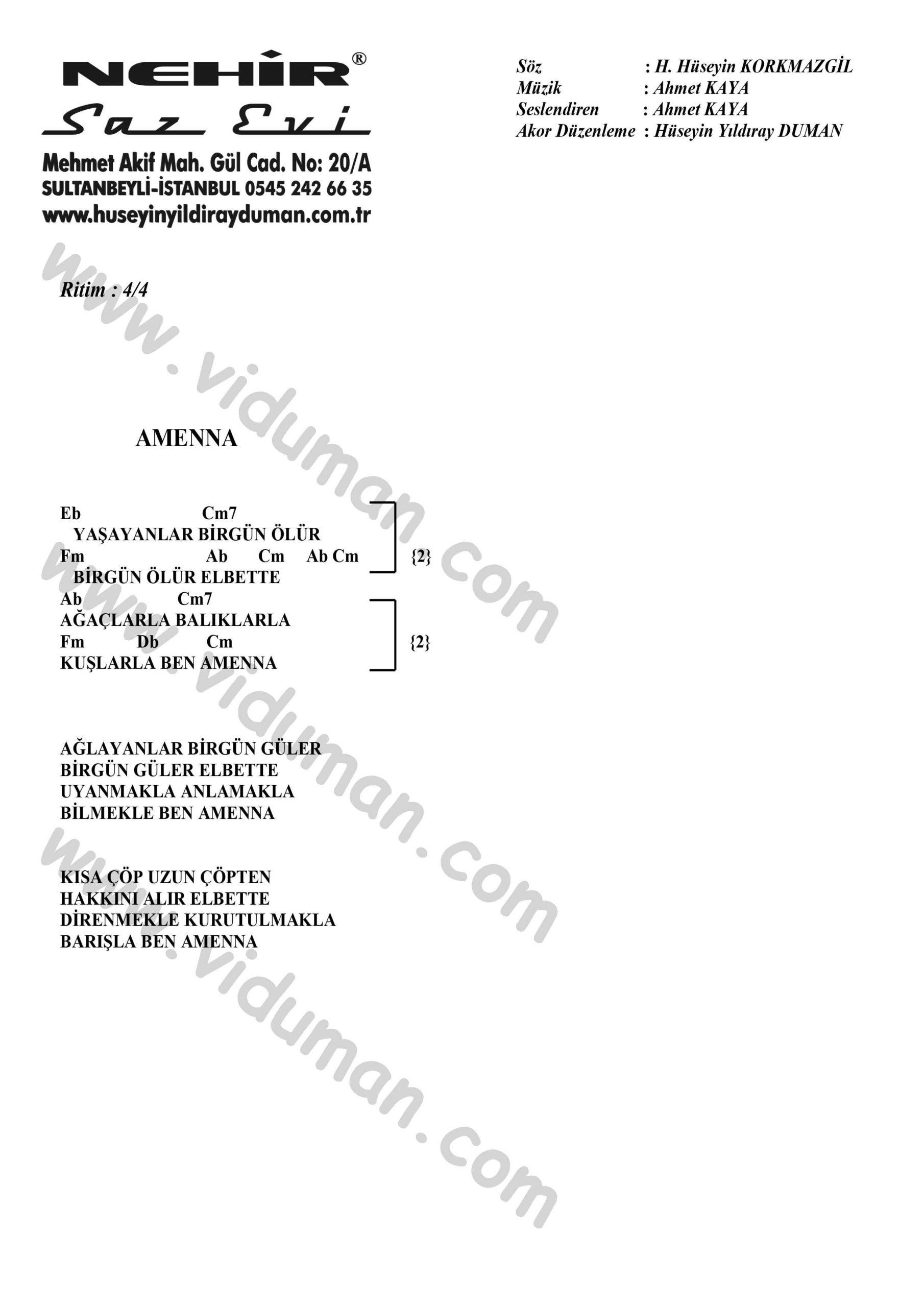 Amenna-Ahmet Kaya-Ritim Gitar Akorlari