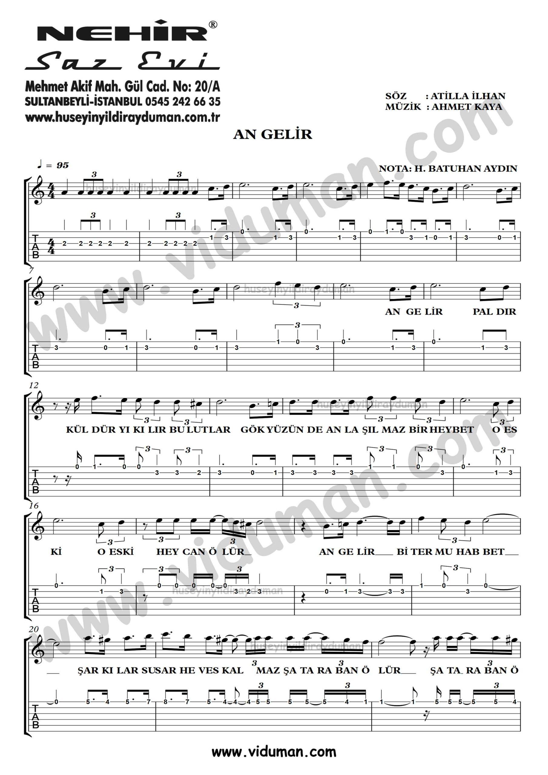 An Gelir_1-Ahmet Kaya-Gitar Tab-Solo Notalari