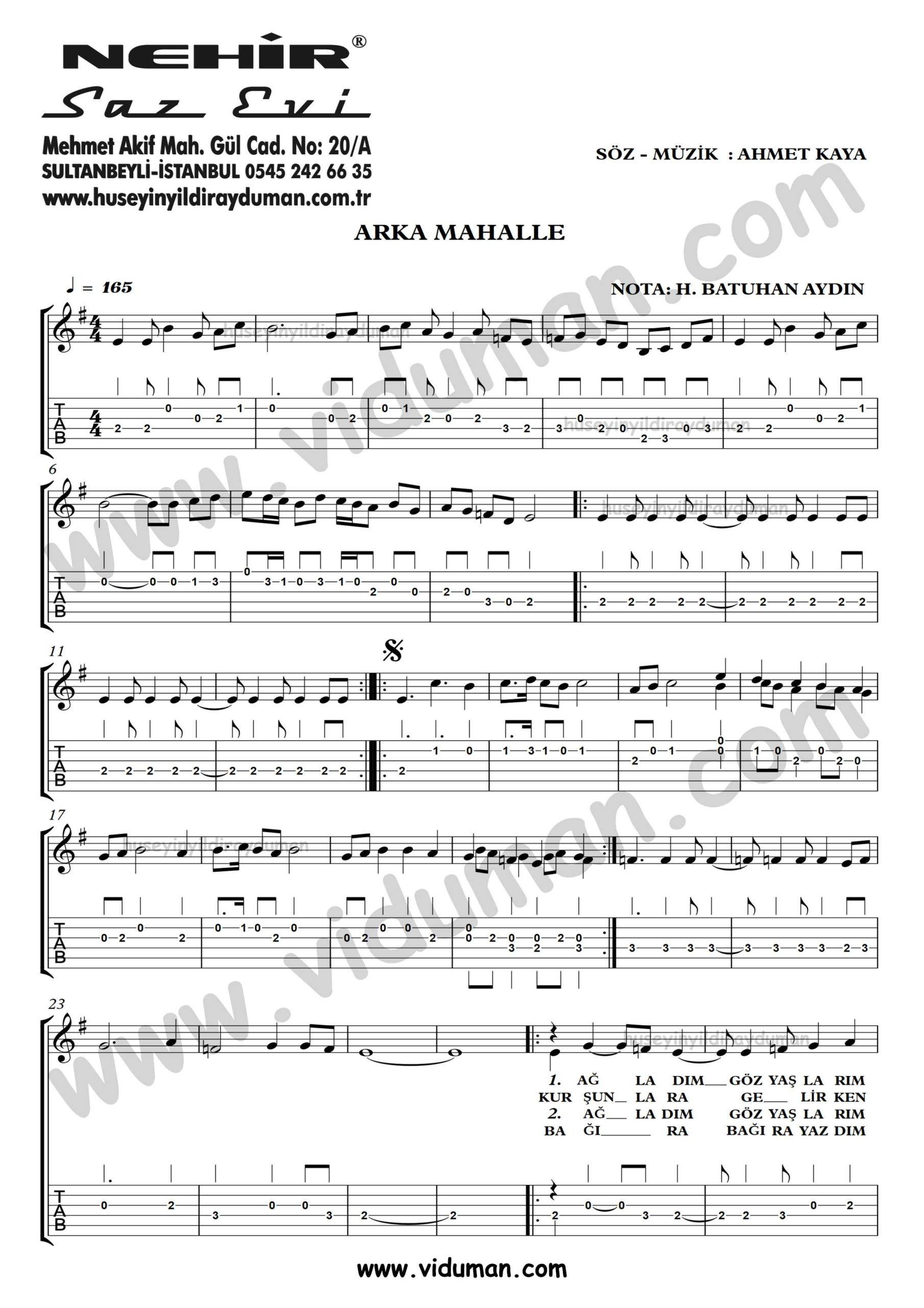 Arka Mahalle_1-Ahmet Kaya-Gitar Tab-Solo Notalari