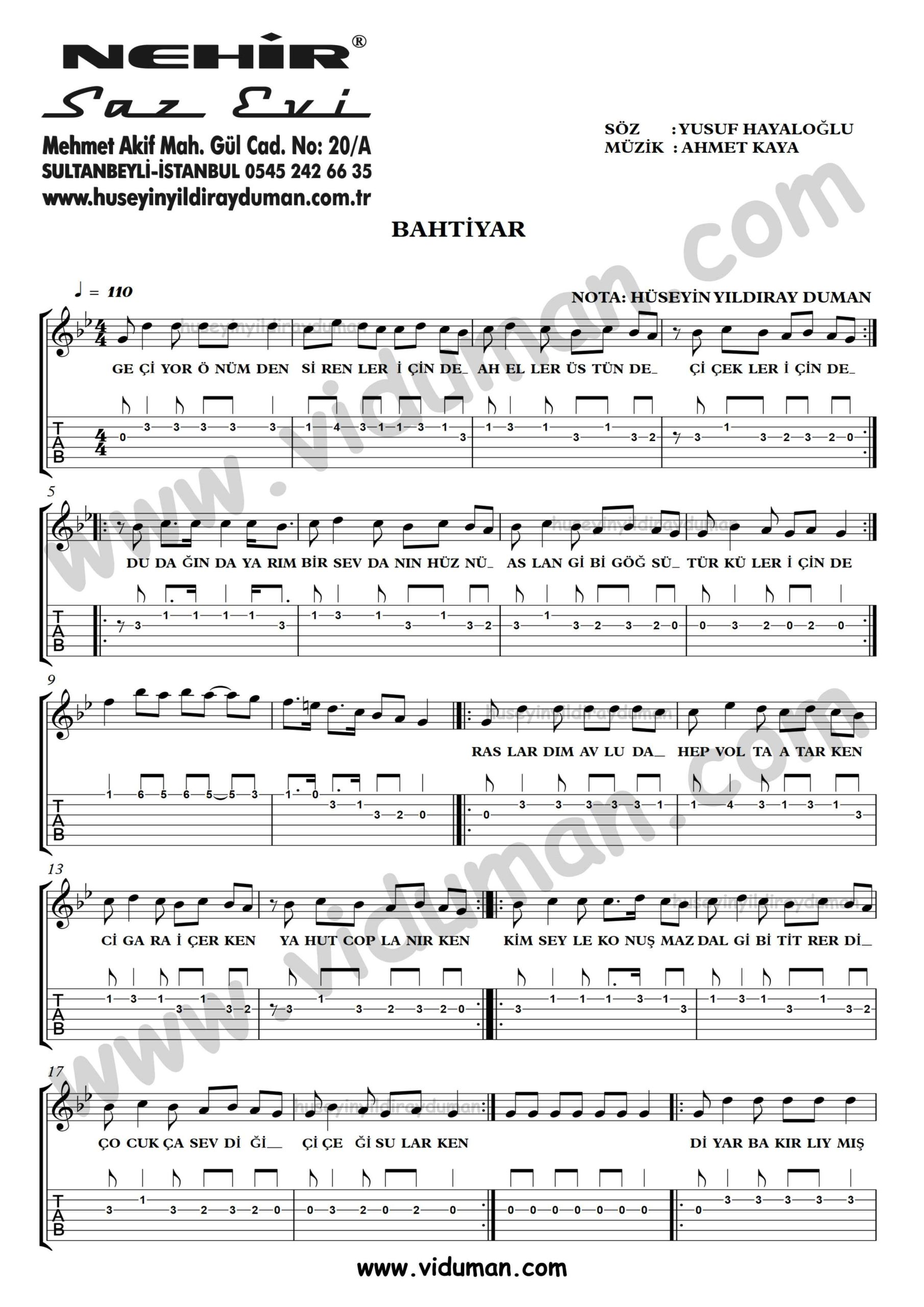 Bahtiyar_1-Ahmet Kaya-Gitar Tab-Solo Notalari