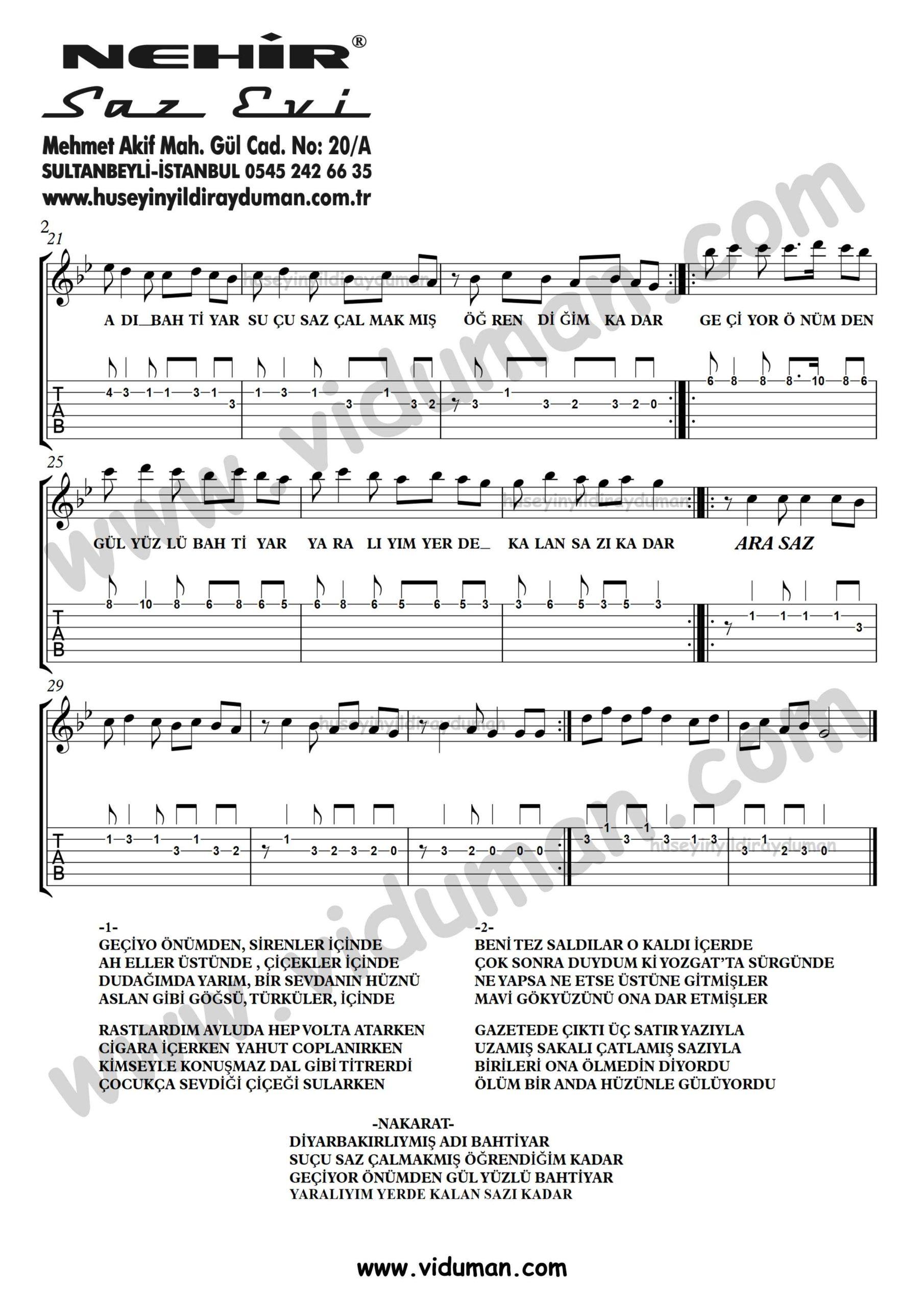 Bahtiyar_2-Ahmet Kaya-Gitar Tab-Solo Notalari