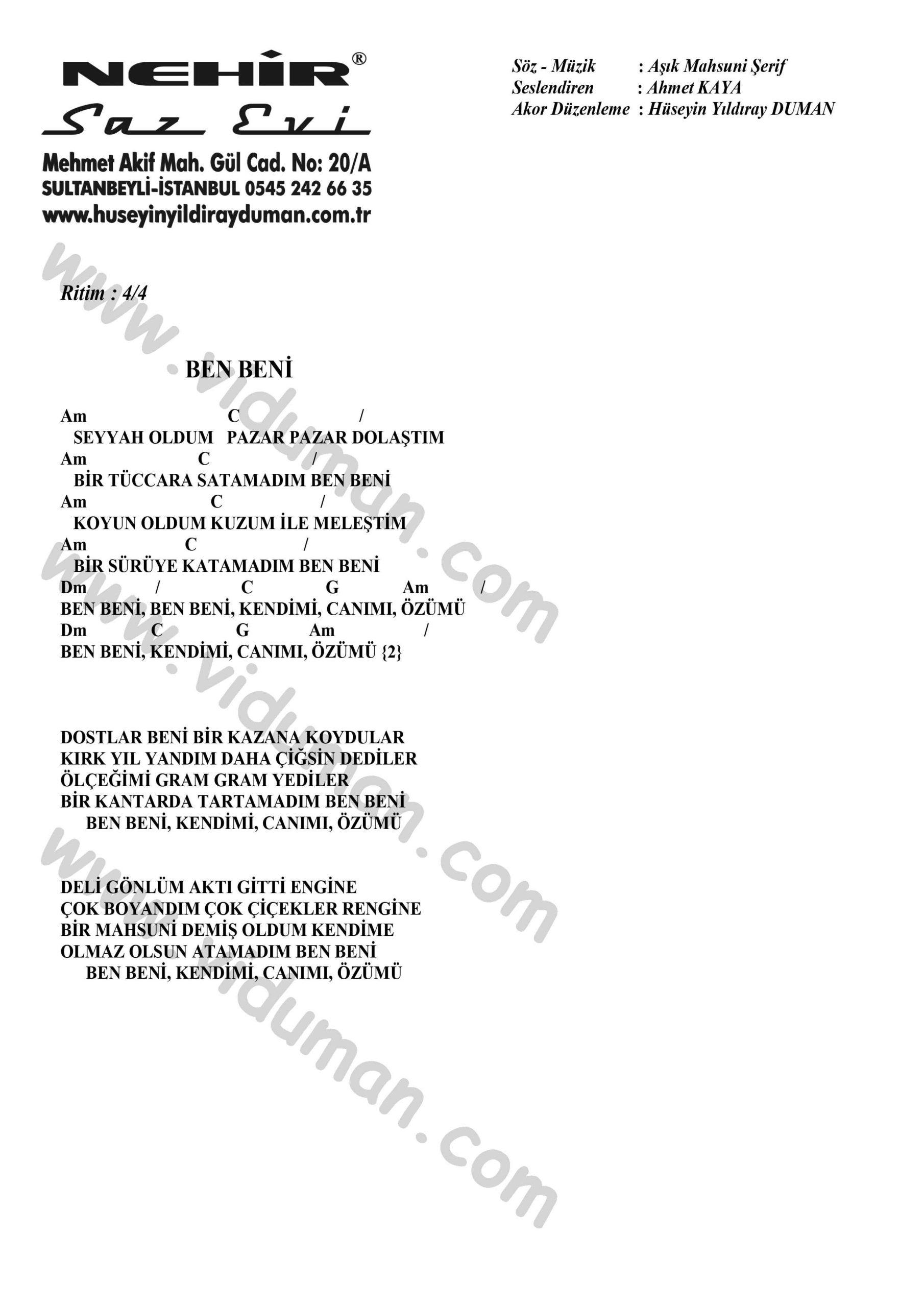 Ben Beni-Ahmet Kaya-Ritim Gitar Akorlari