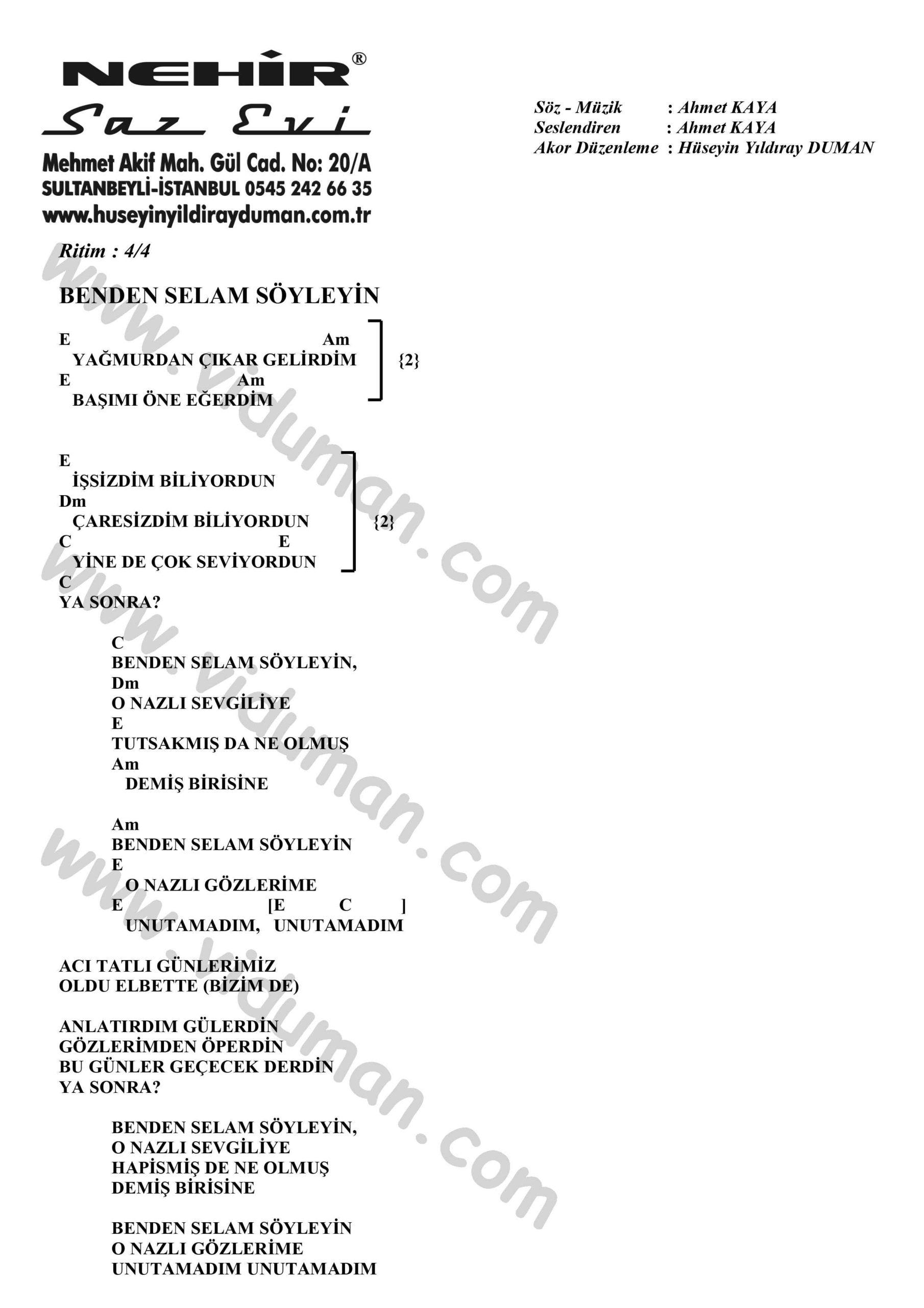 Benden Selam Soyleyin-Ahmet Kaya-Ritim-Gitar-Akorlari