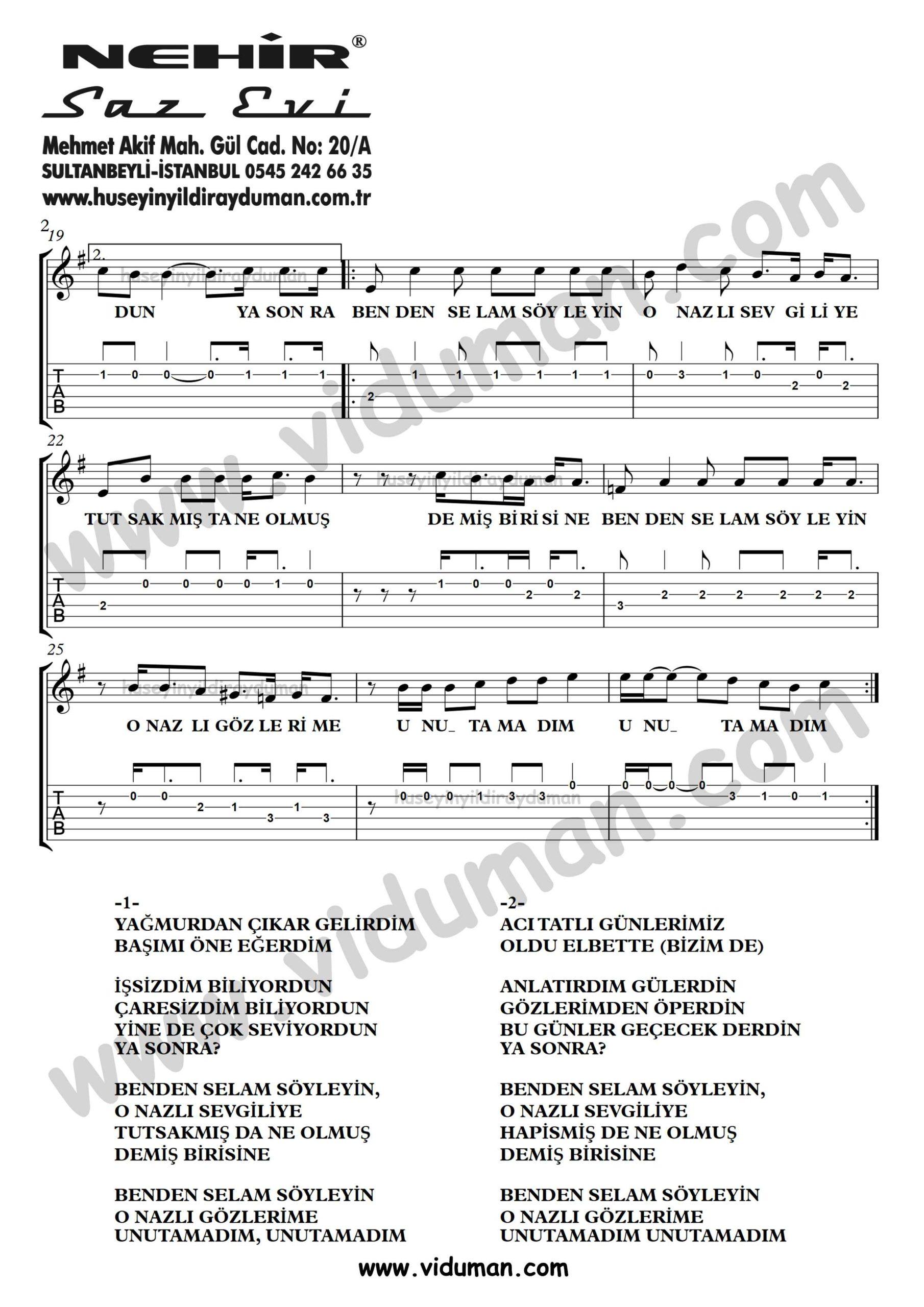 Benden Selam Soyleyin_2-Ahmet Kaya-Gitar Tab-Solo Notalari
