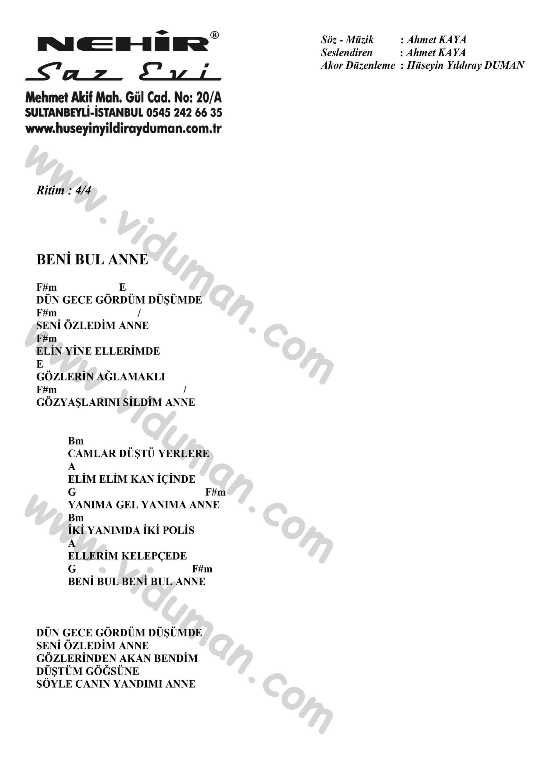 Beni Bul Anne-Ahmet Kaya-Ritim-Gitar-Akorlari
