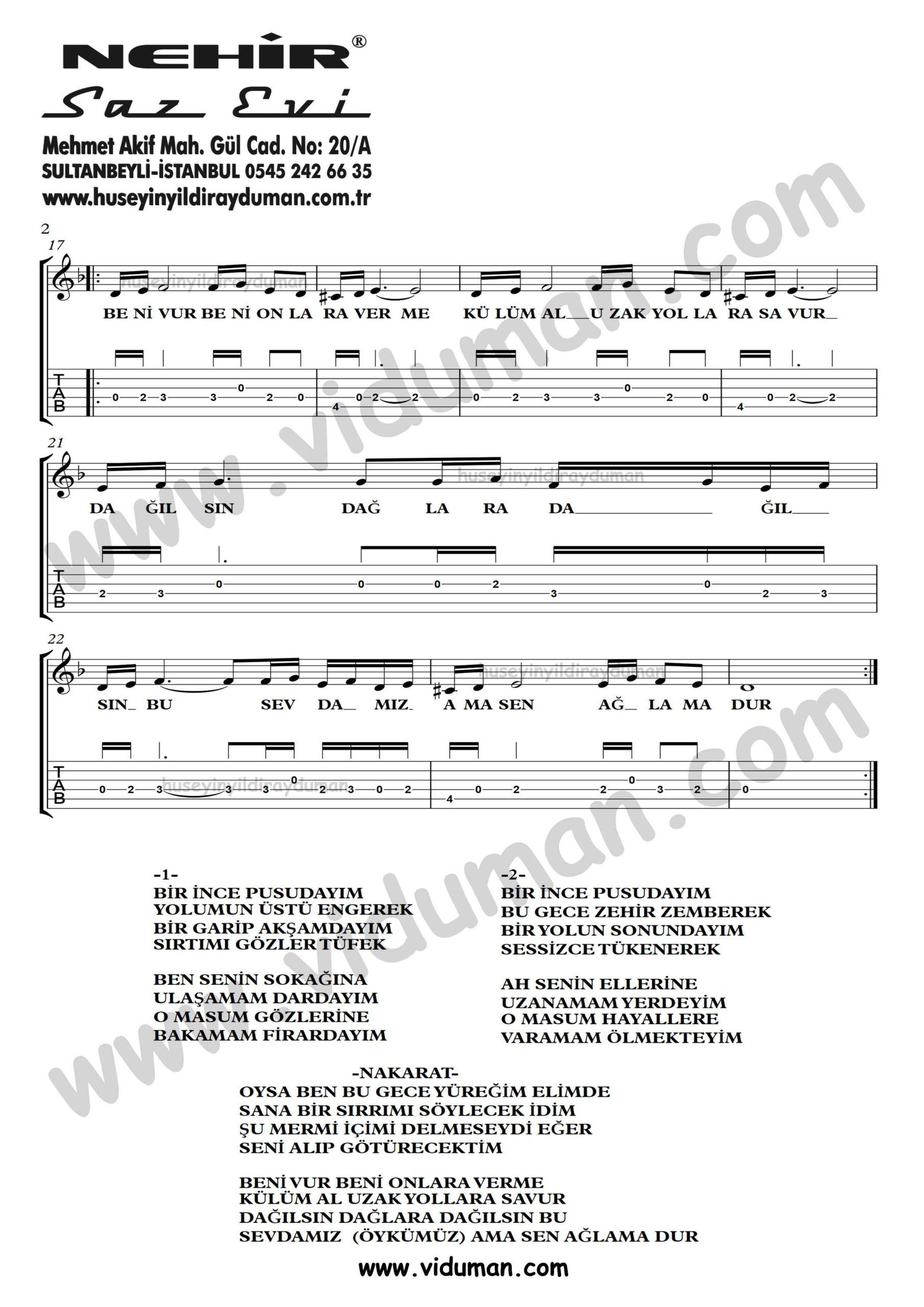 Beni Vur_2-Ahmet Kaya-Gitar Tab-Solo Notalari