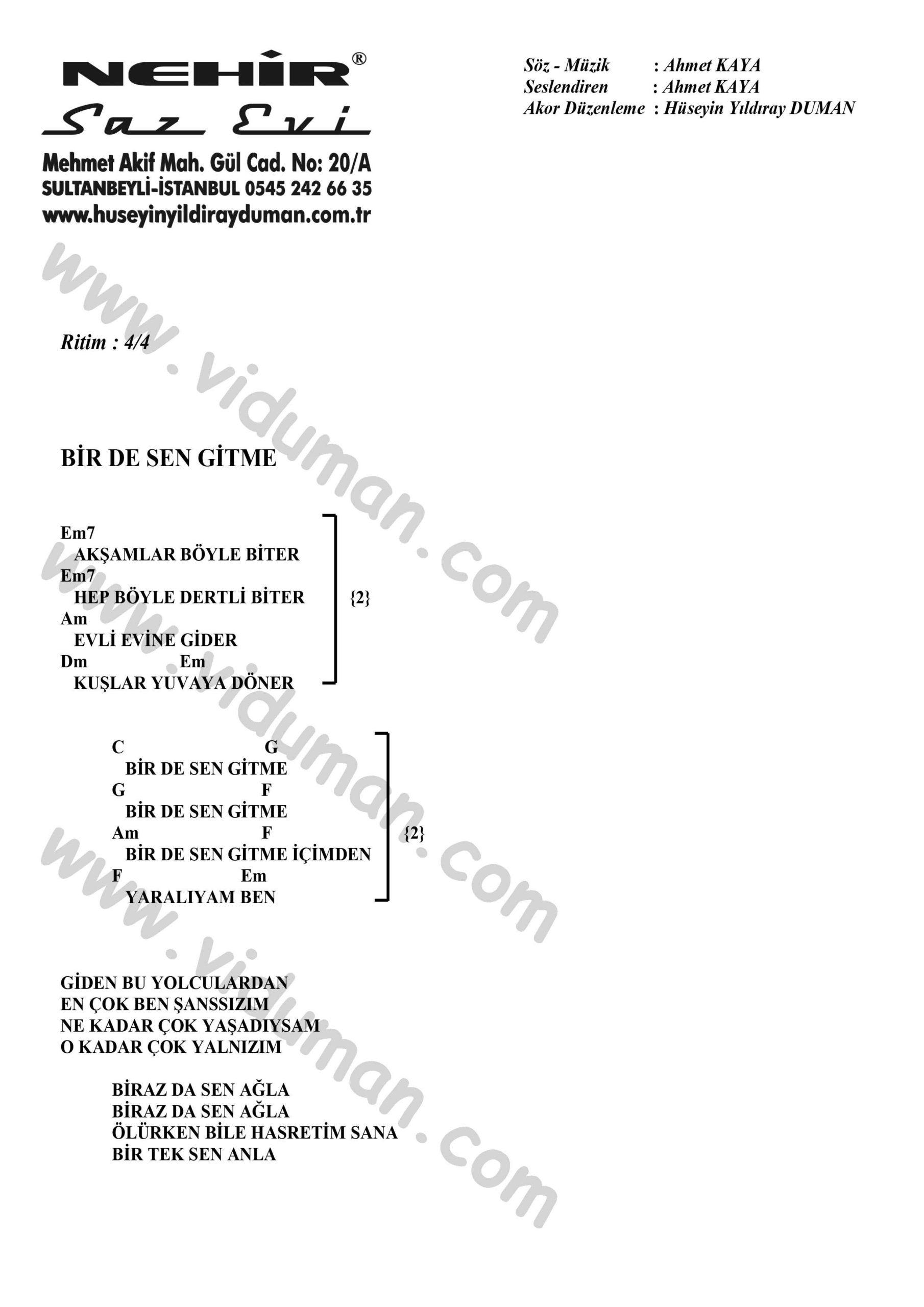Bir De Sen Gitme-Ahmet Kaya-Ritim-Gitar-Akorlari