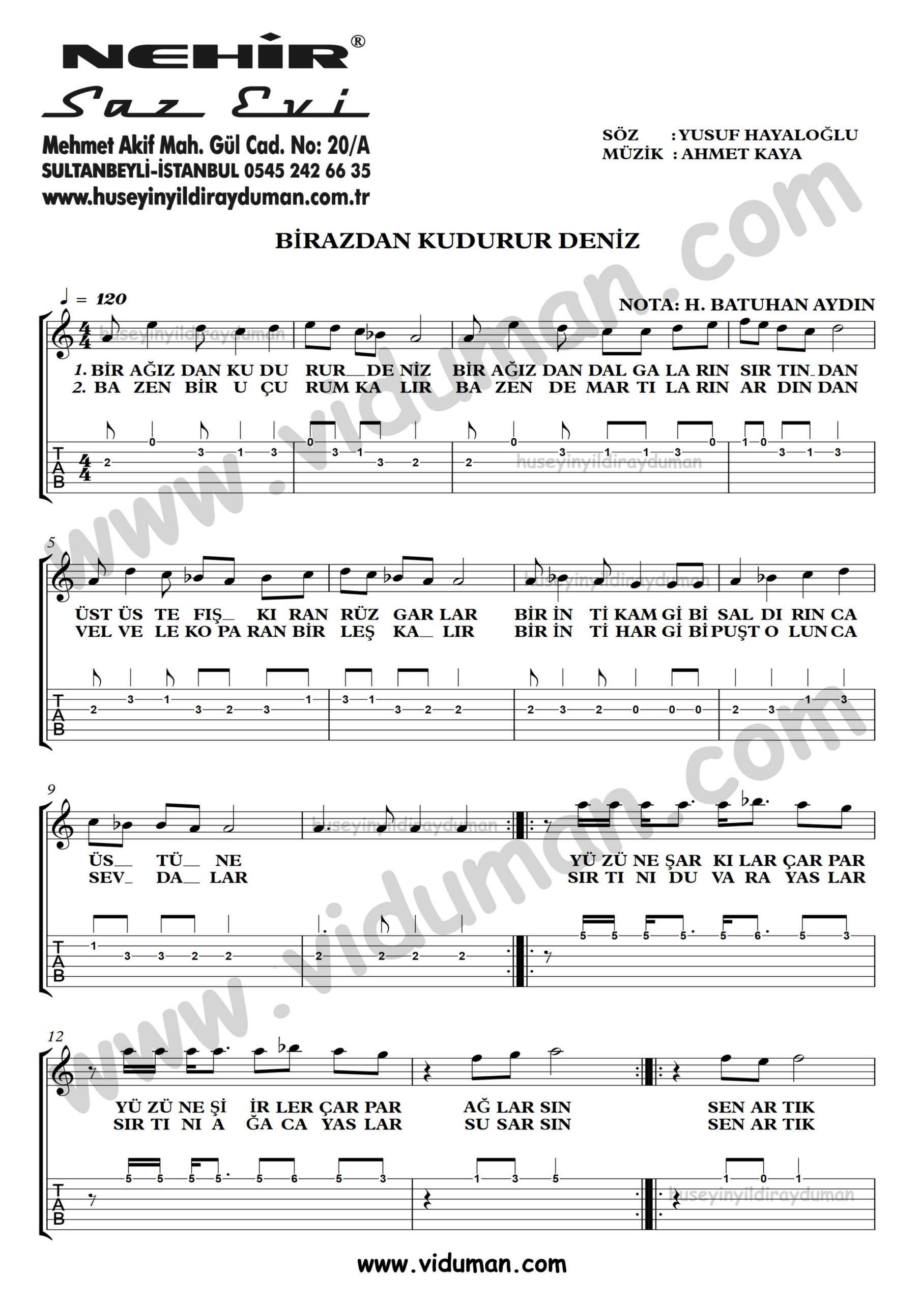 Birazdan Kudurur Deniz_1-Ahmet Kaya-Gitar Tab-Solo Notalari
