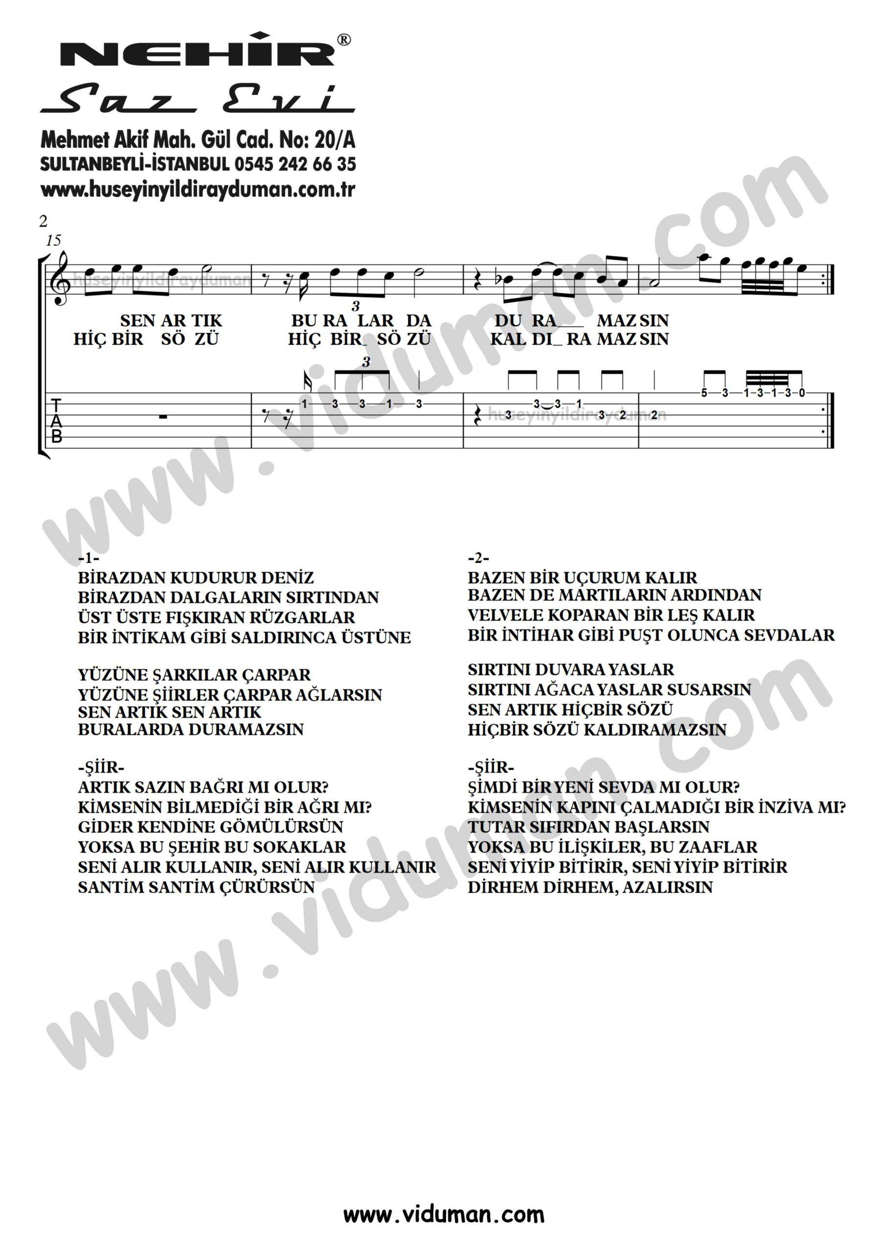 Birazdan Kudurur Deniz_2-Ahmet Kaya-Gitar Tab-Solo Notalari