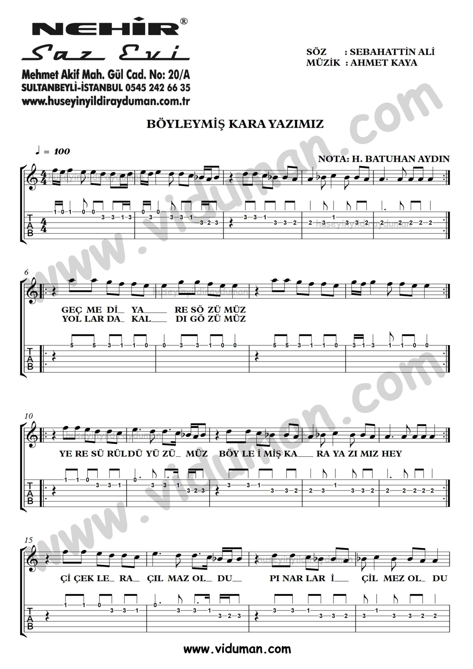 Boyleymis Kara Yazimiz_1-Ahmet Kaya-Gitar Tab-Solo Notalari
