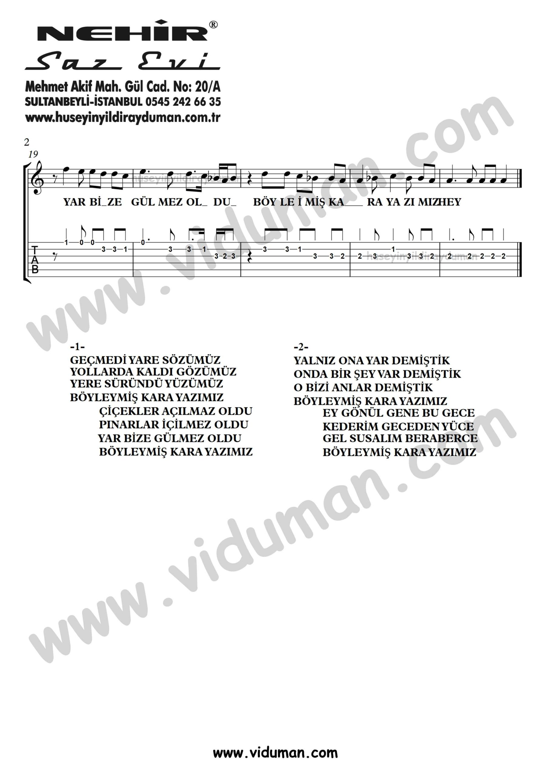 Boyleymis Kara Yazimiz_2-Ahmet Kaya-Gitar Tab-Solo Notalari
