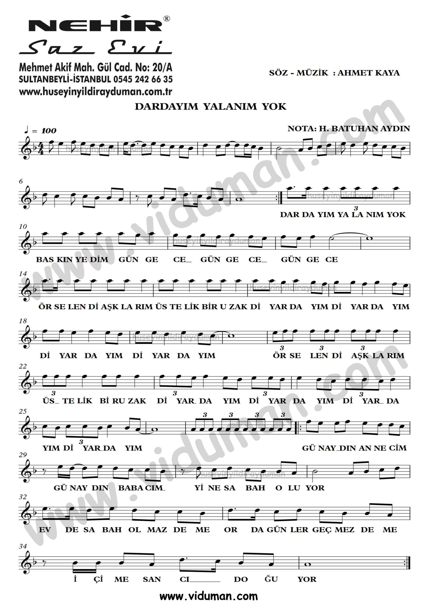 Dardayim Yalanim Yok-Ahmet Kaya-Baglama-Saz-Turku-Notalari