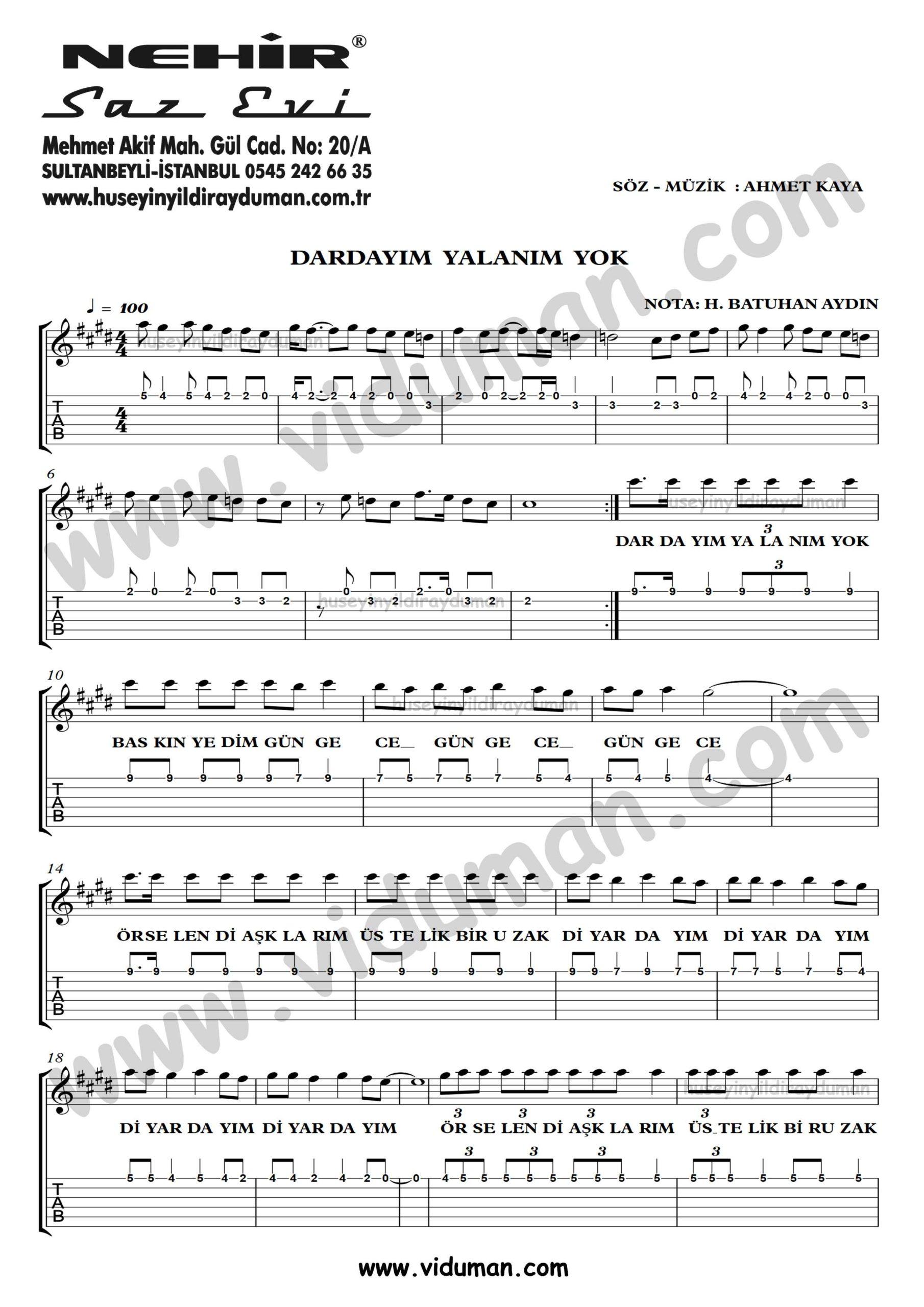 Dardayim Yalanim Yok_1-Ahmet Kaya-Gitar Tab-Solo Notalari