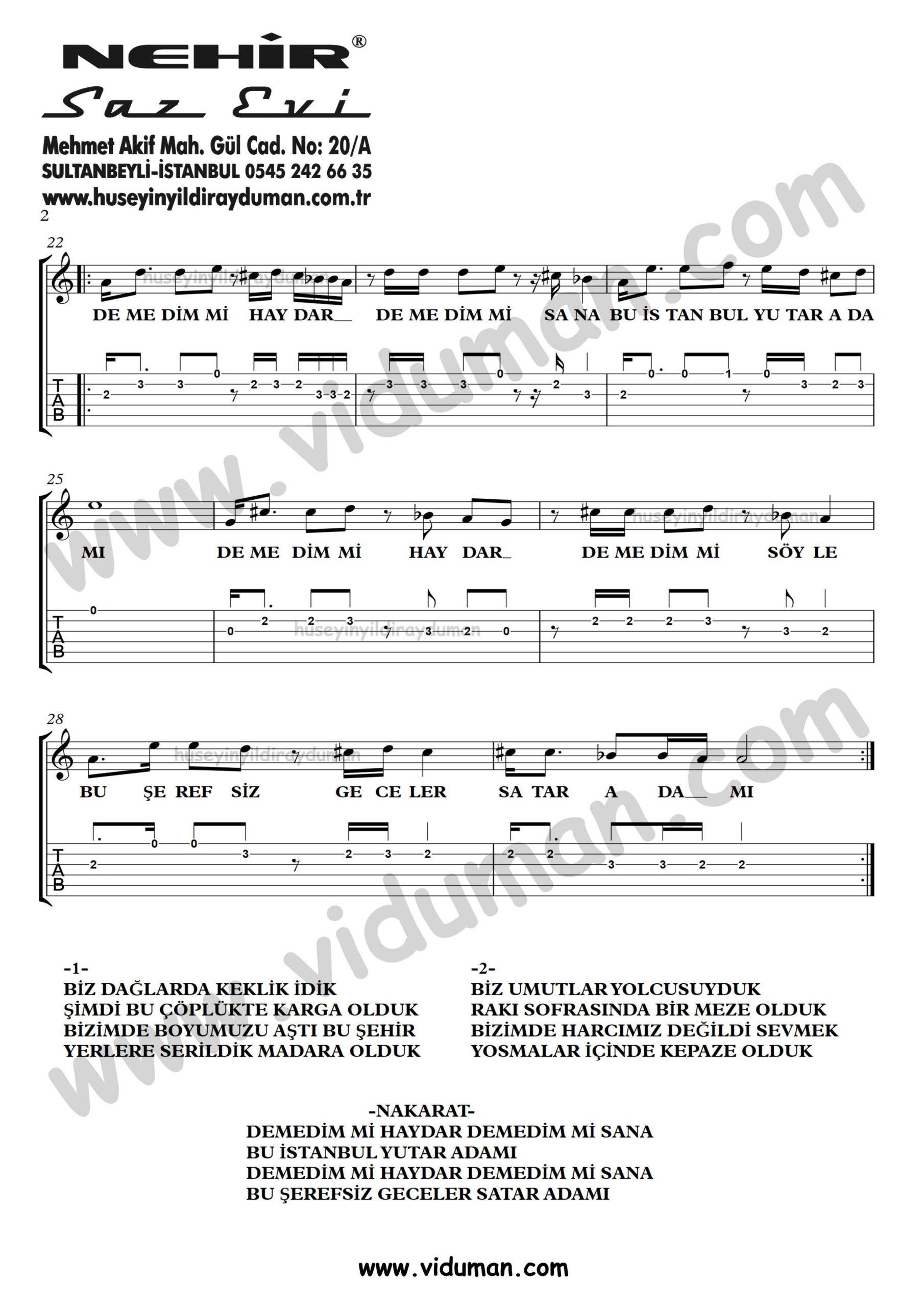 Demedim mi Haydar_2-Ahmet Kaya-Gitar Tab-Solo Notalari