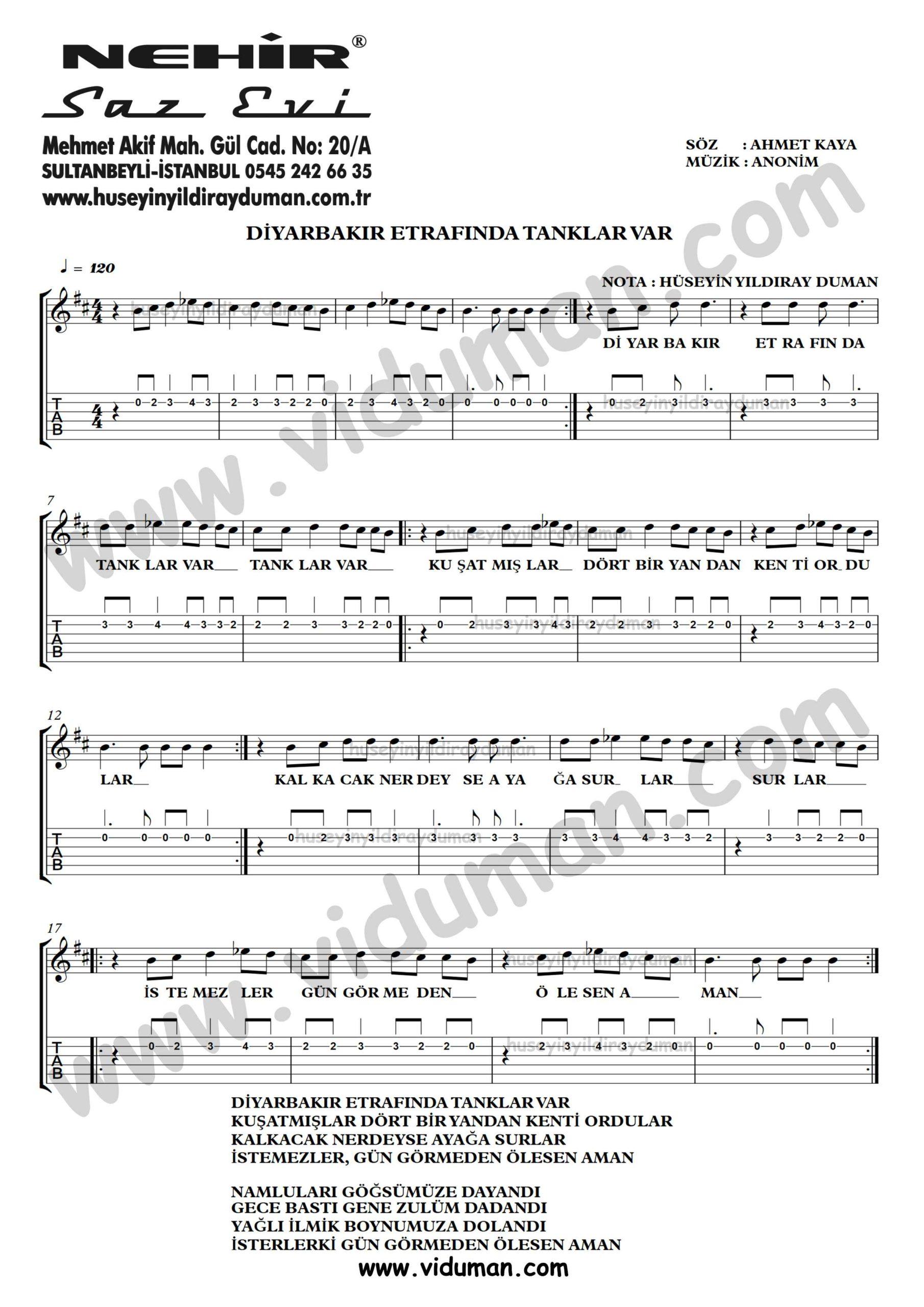 Diyarbakir Etrafinda Tanklar Var-Ahmet Kaya-Gitar Tab-Solo Notalari
