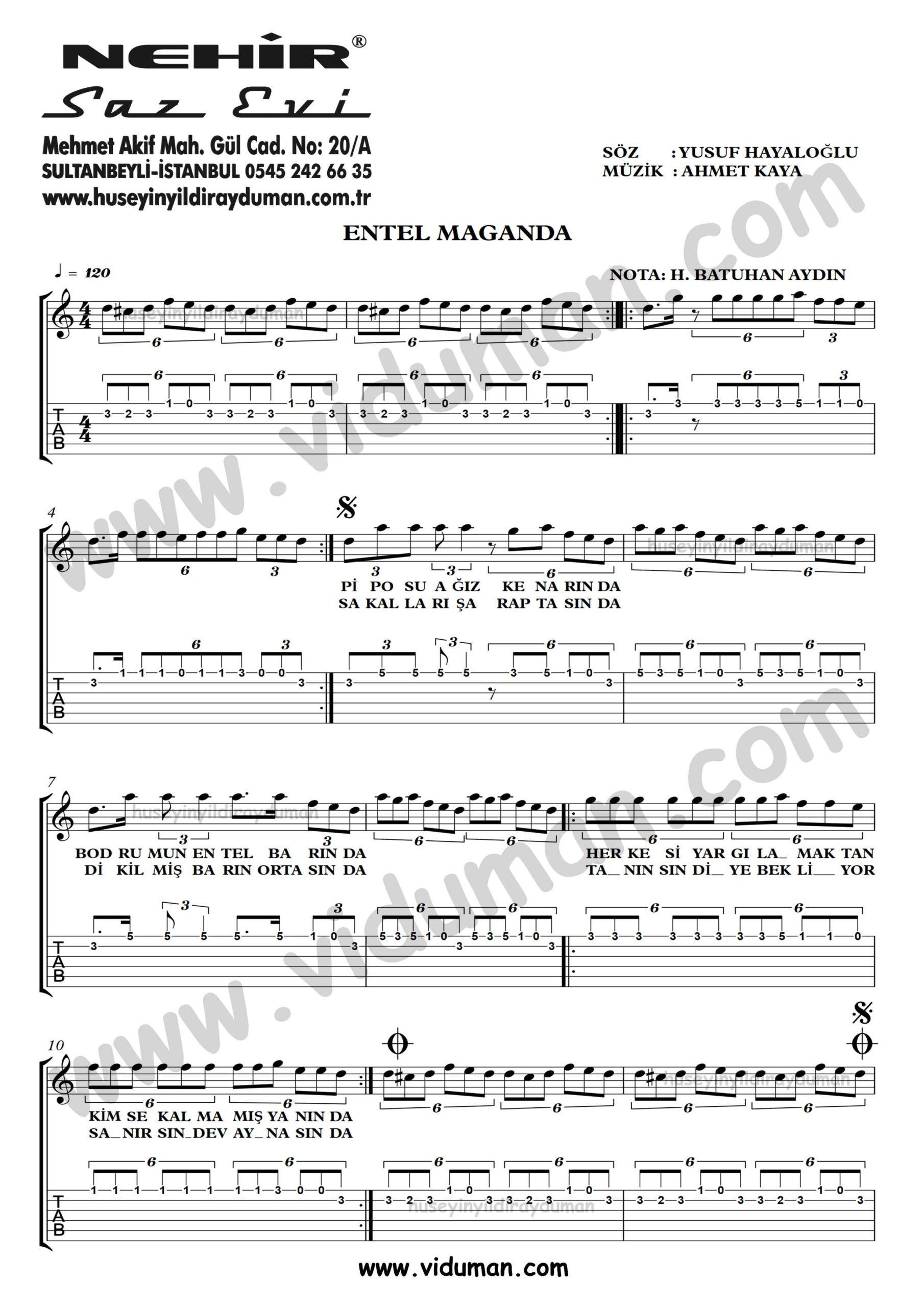 Entel Maganda_1-Ahmet Kaya-Gitar Tab-Solo Notalari