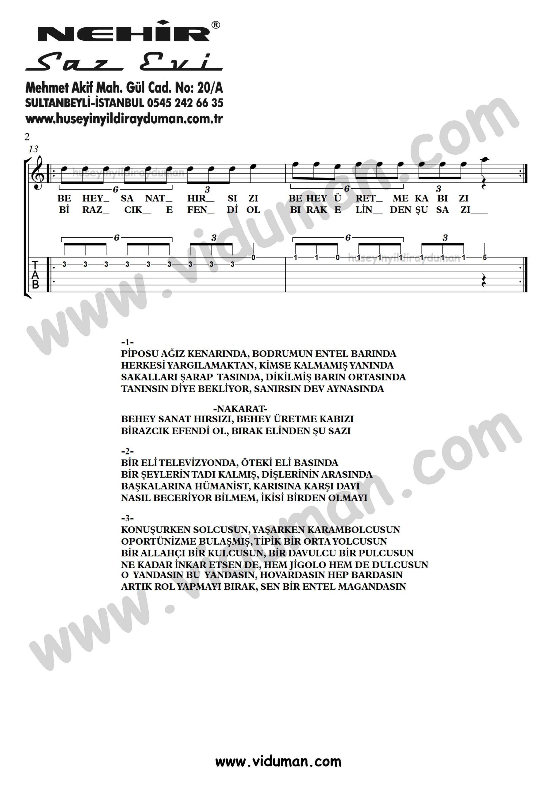 Entel Maganda_2-Ahmet Kaya-Gitar Tab-Solo Notalari