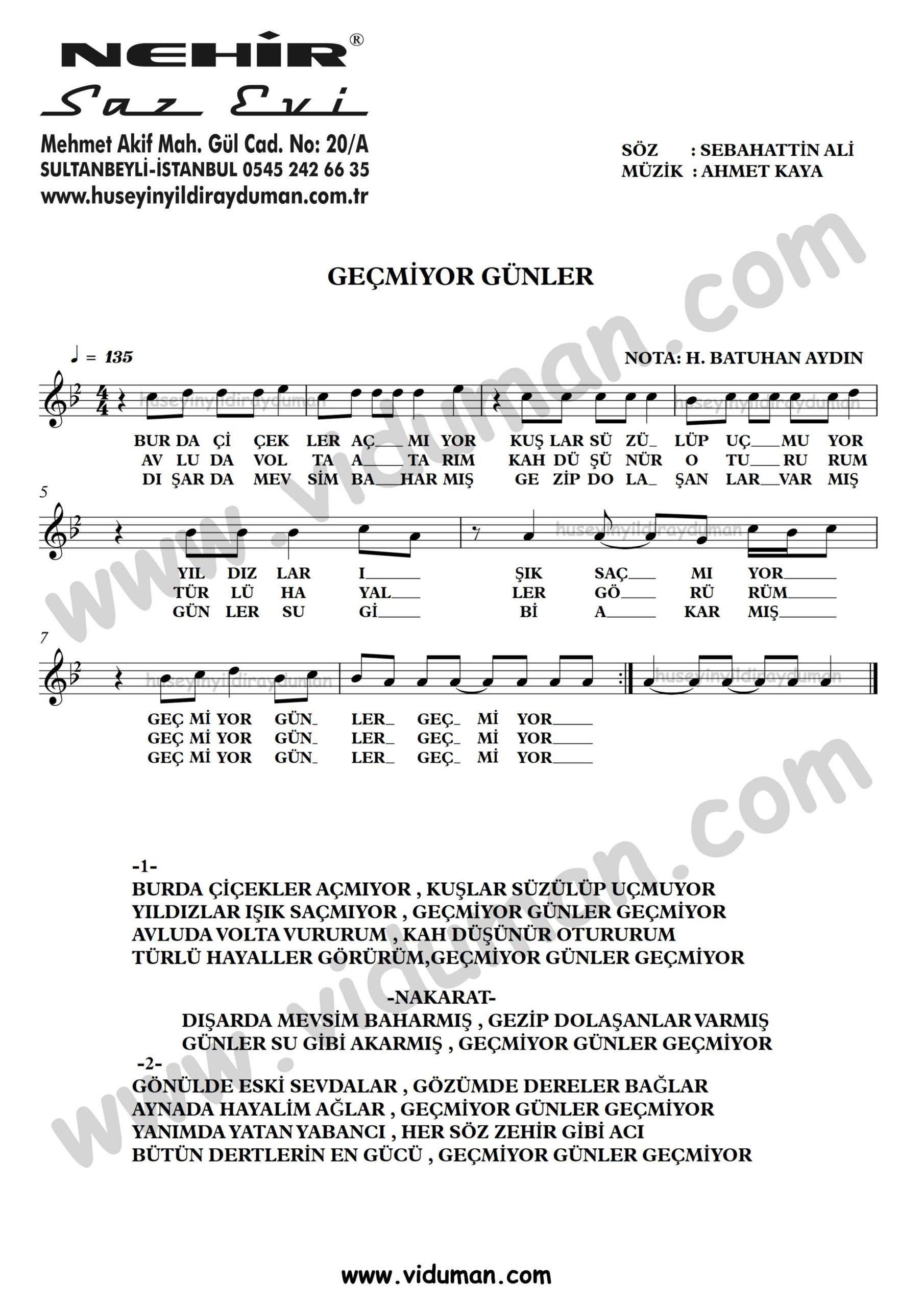 Gecmiyor Gunler-Ahmet Kaya-Baglama-Saz-Turku-Notalari