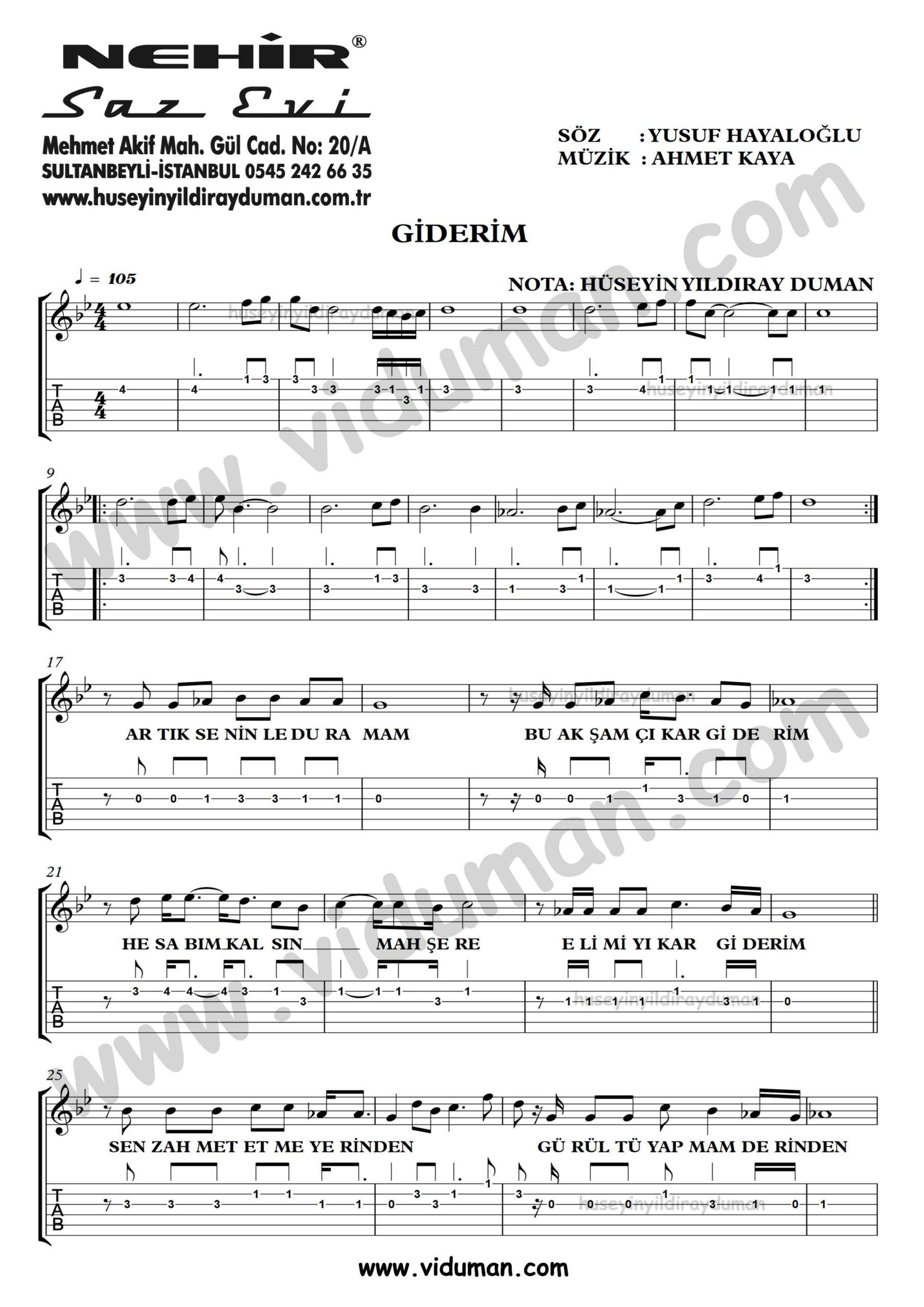 Giderim_1-Ahmet Kaya-Gitar Tab-Solo Notalari