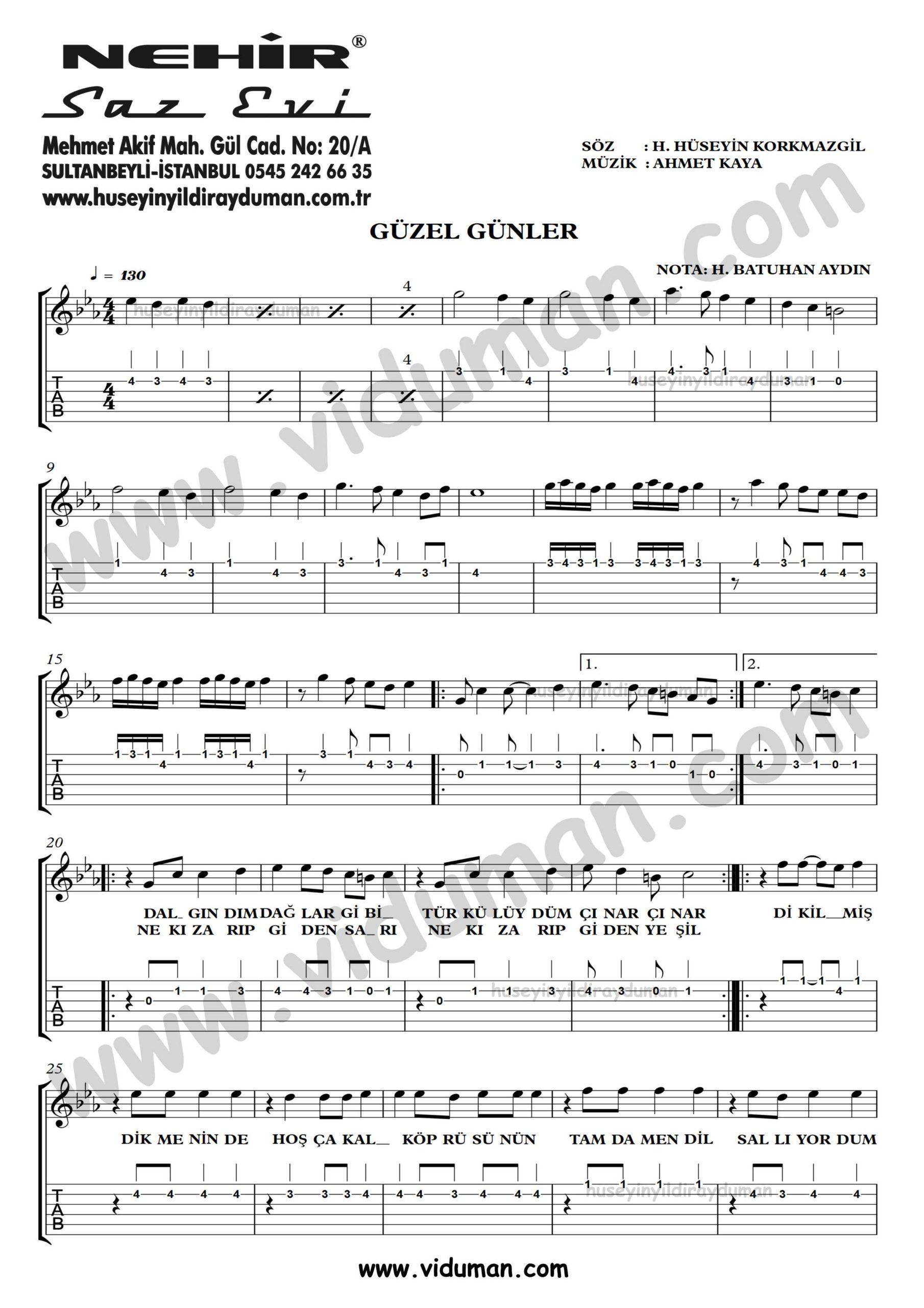 Guzel Gunler_1-Ahmet Kaya-Gitar Tab-Solo Notalari