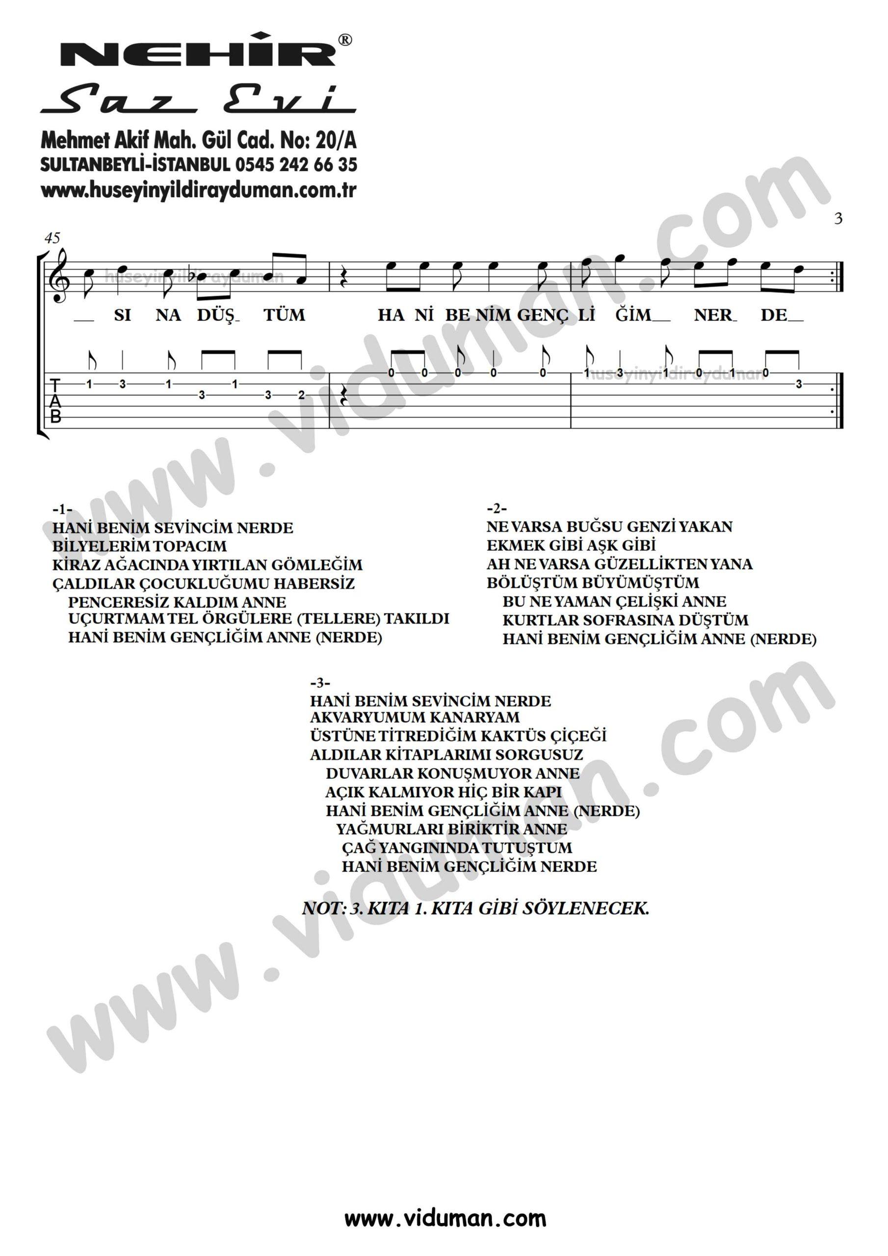Hani Benim Gencligim_3-Ahmet Kaya-Gitar Tab-Solo Notalari