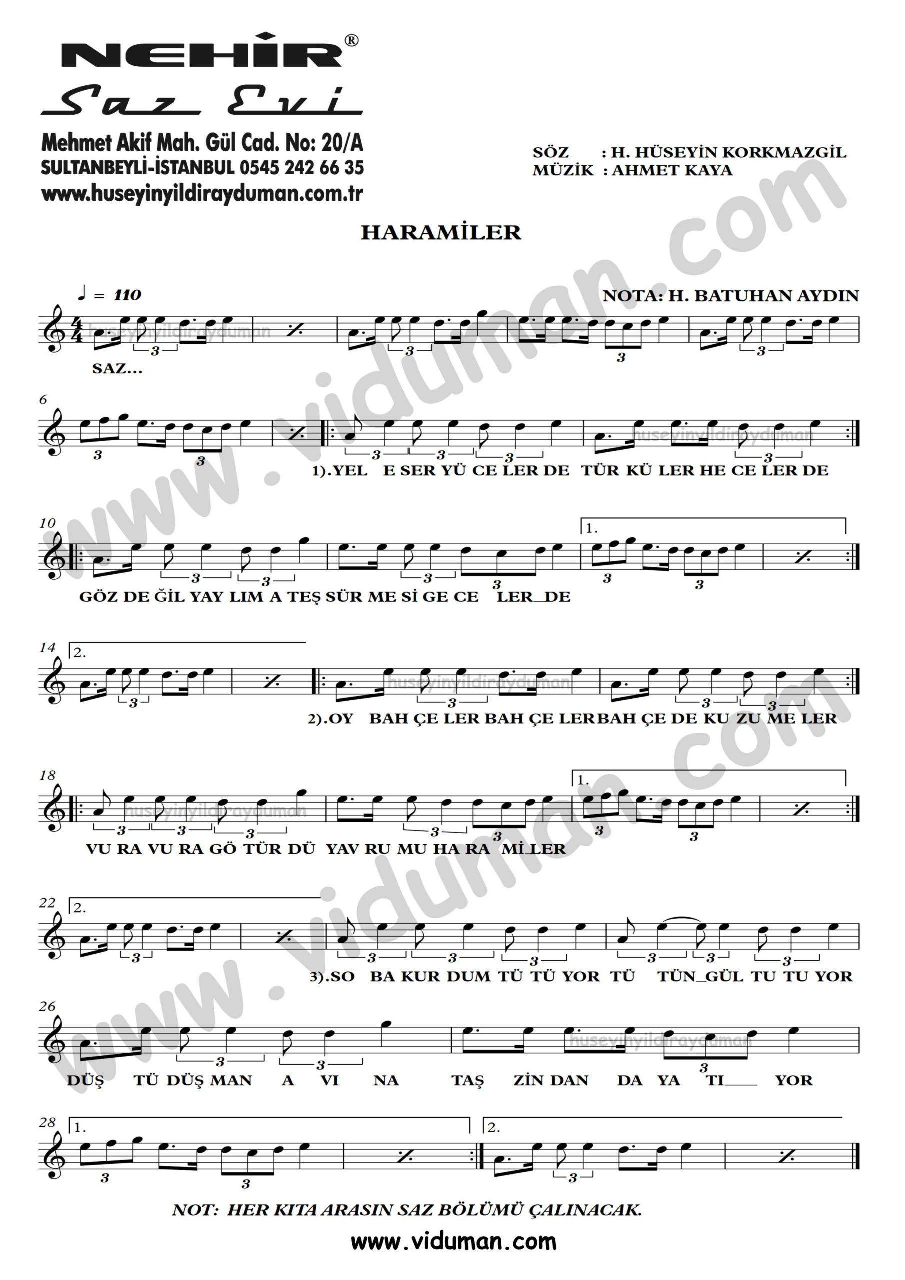 Haramiler-Ahmet Kaya-Baglama-Saz-Turku-Notalari