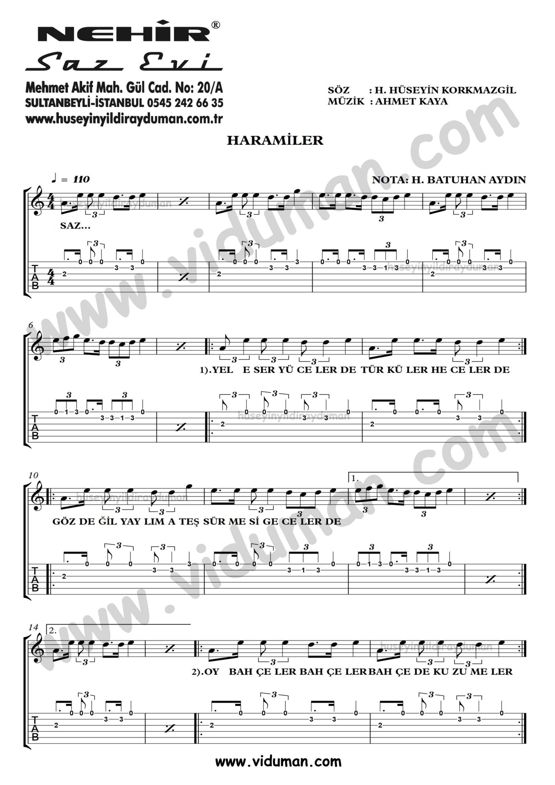 Haramiler_1-Ahmet Kaya-Gitar Tab-Solo Notalari
