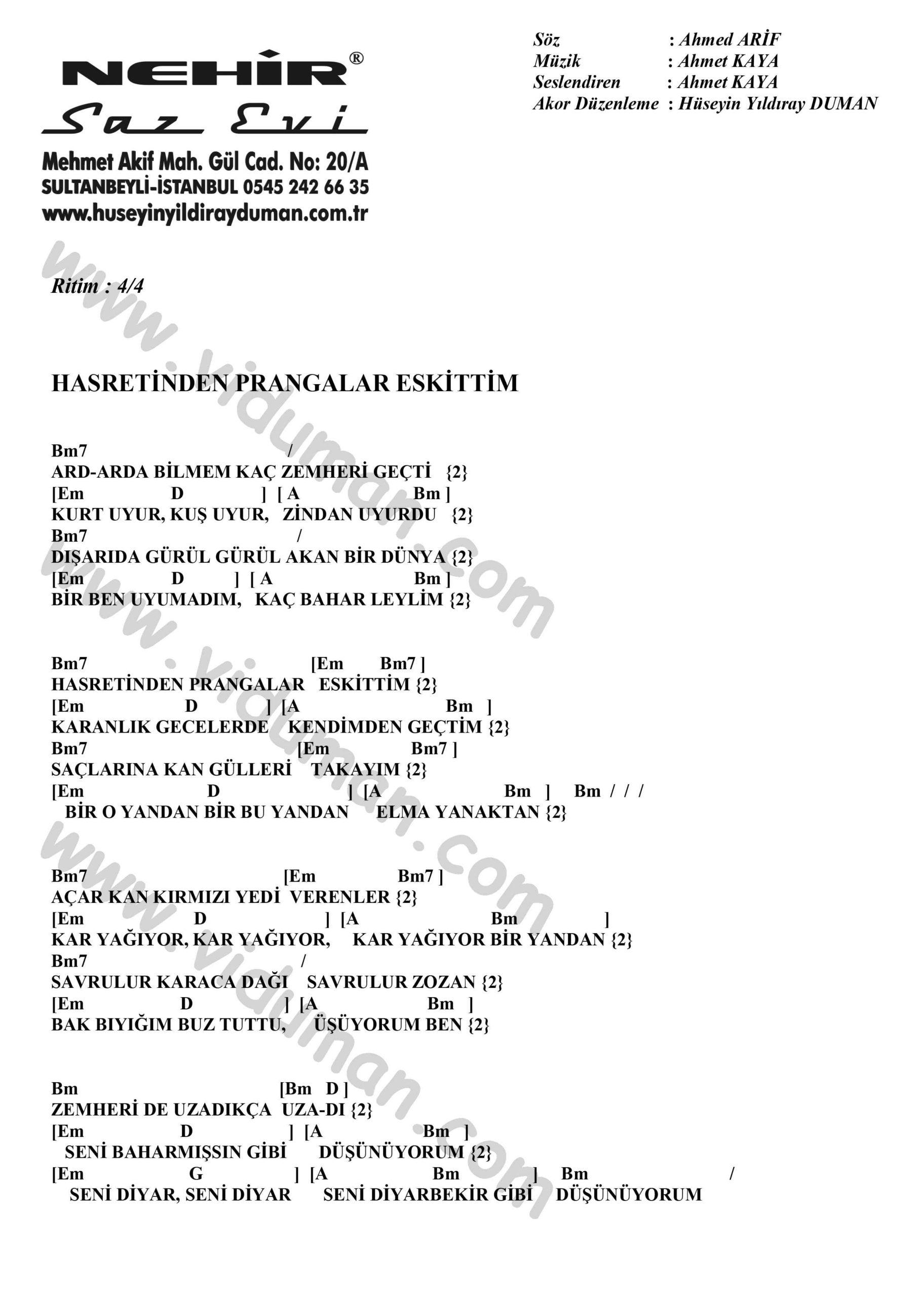 Hasretinden Prangalar Eskittim-Ahmet Kaya-Ritim-Gitar-Akorlari
