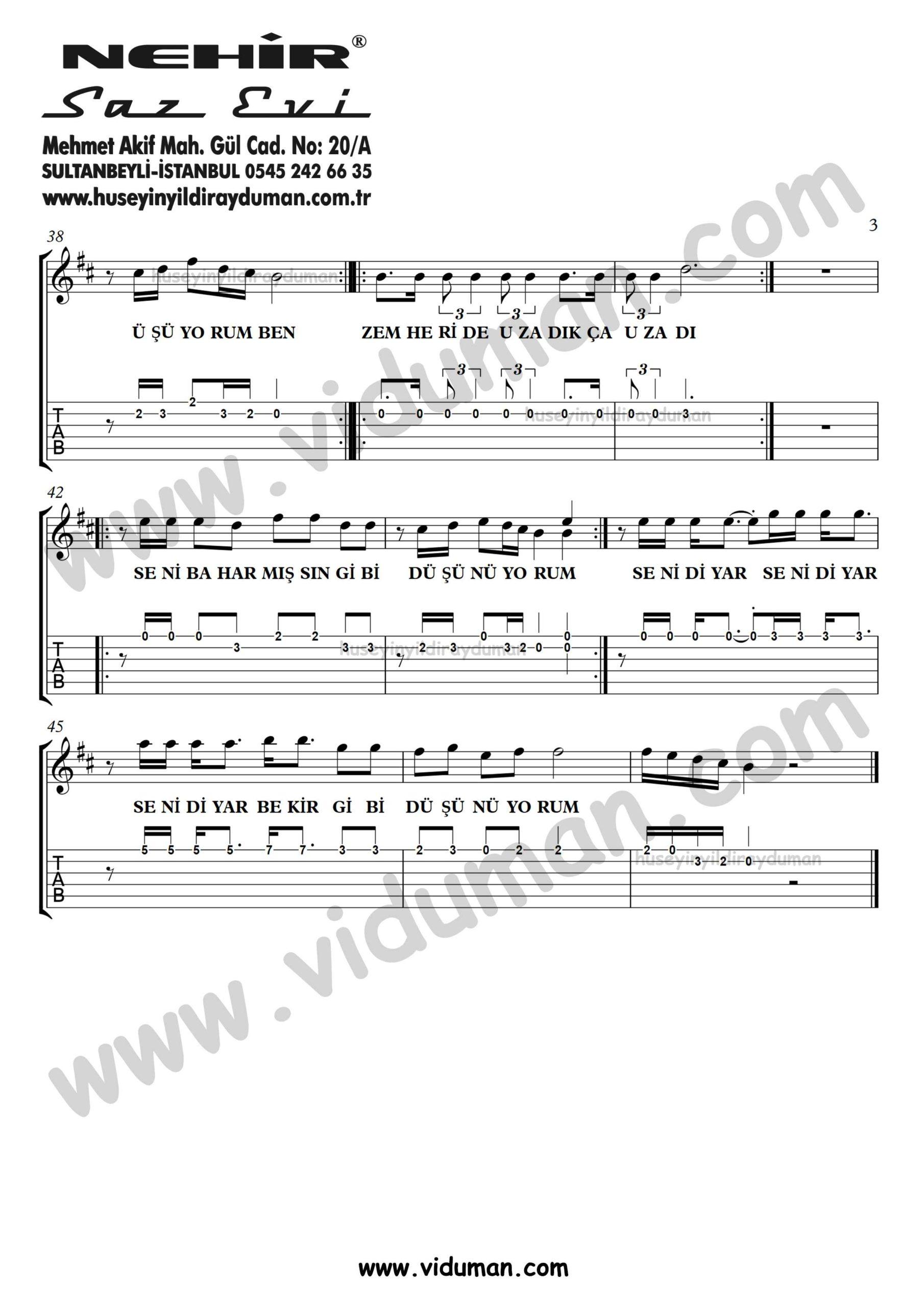Hasretinden Prangalar Eskittim_3-Ahmet Kaya-Gitar Tab-Solo Notalari