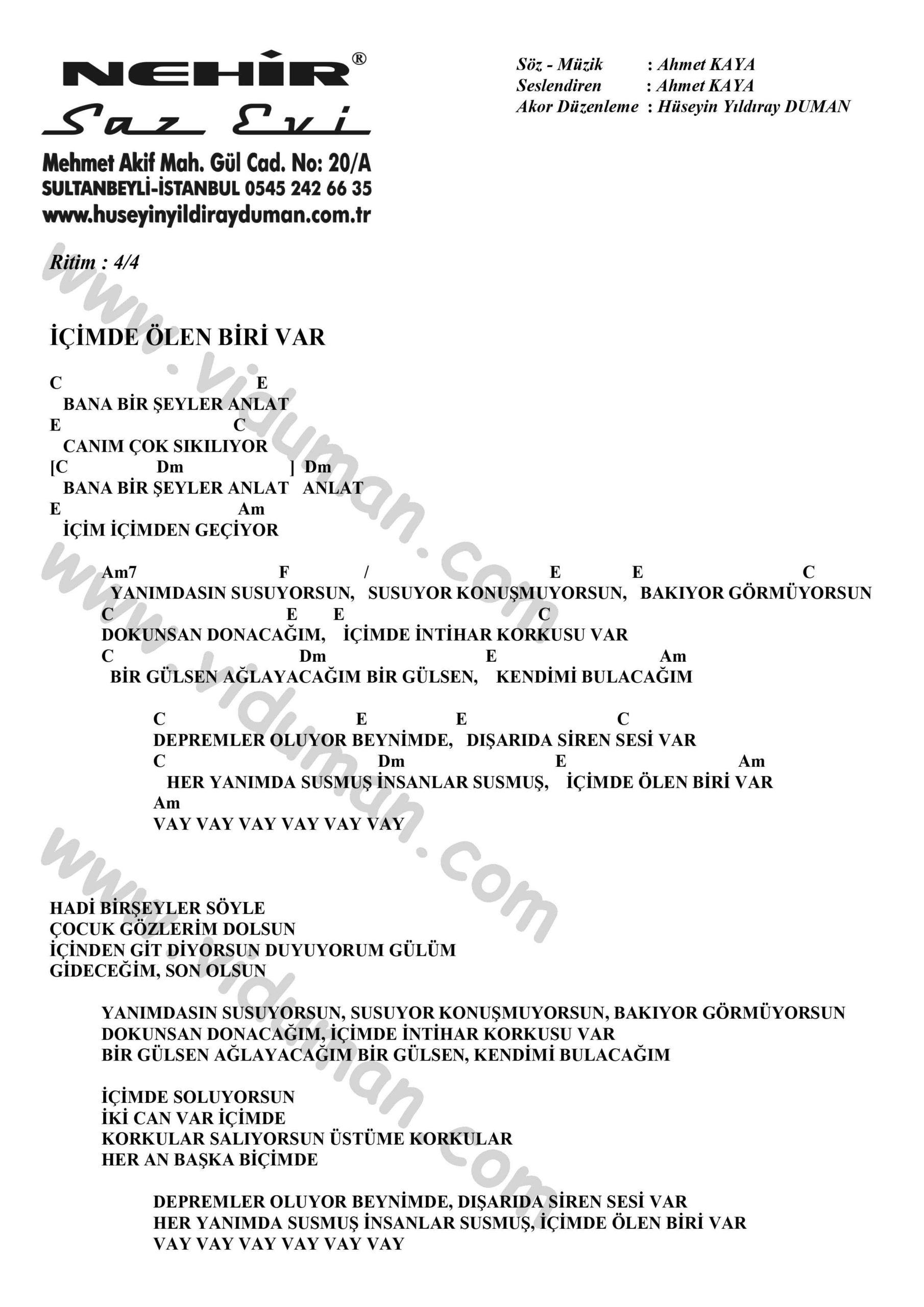Icimde Olen Biri Var-Ahmet Kaya-Ritim-Gitar-Akorlari