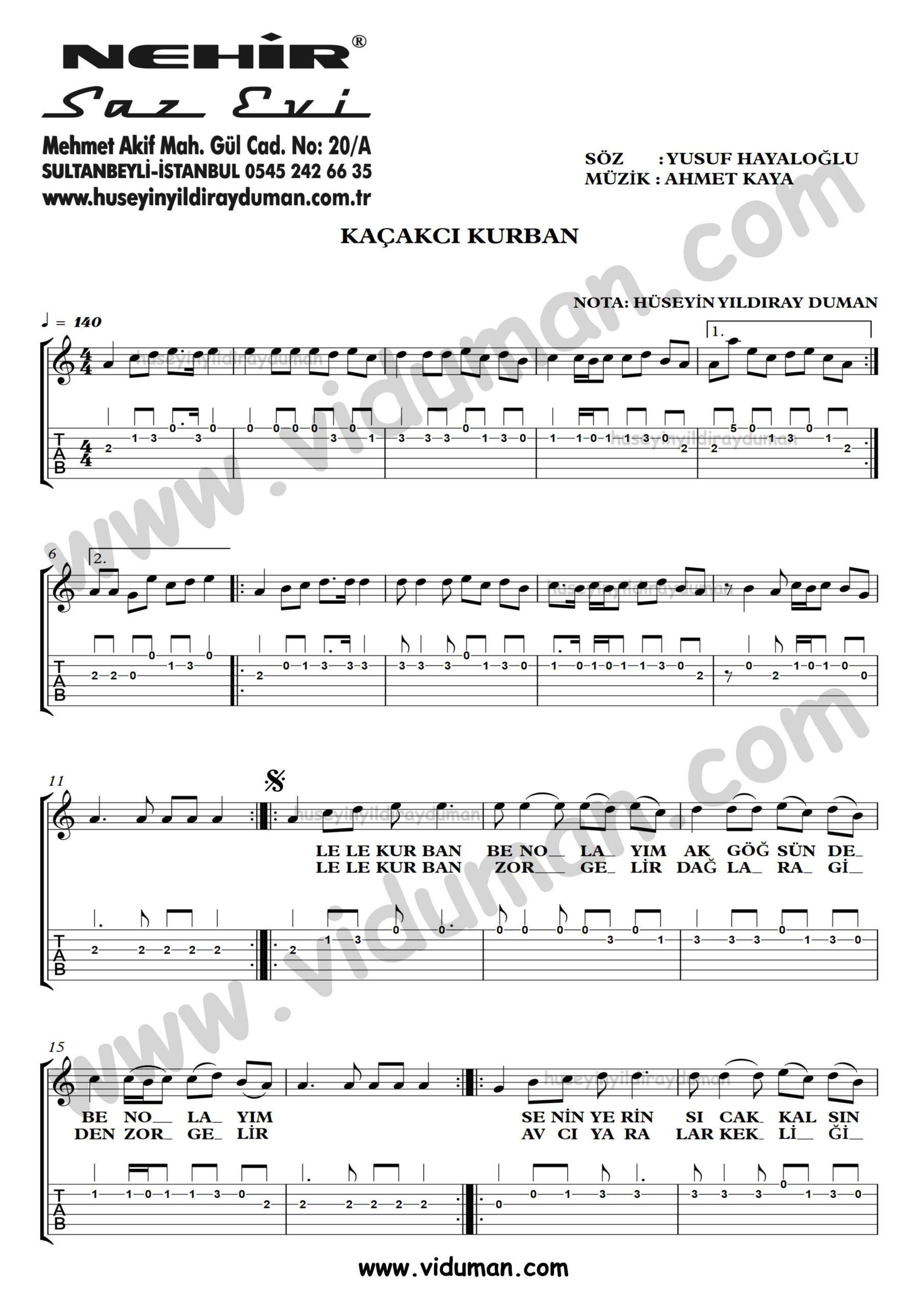 Kacakci Kurban_1-Ahmet Kaya-Gitar Tab-Solo Notalari